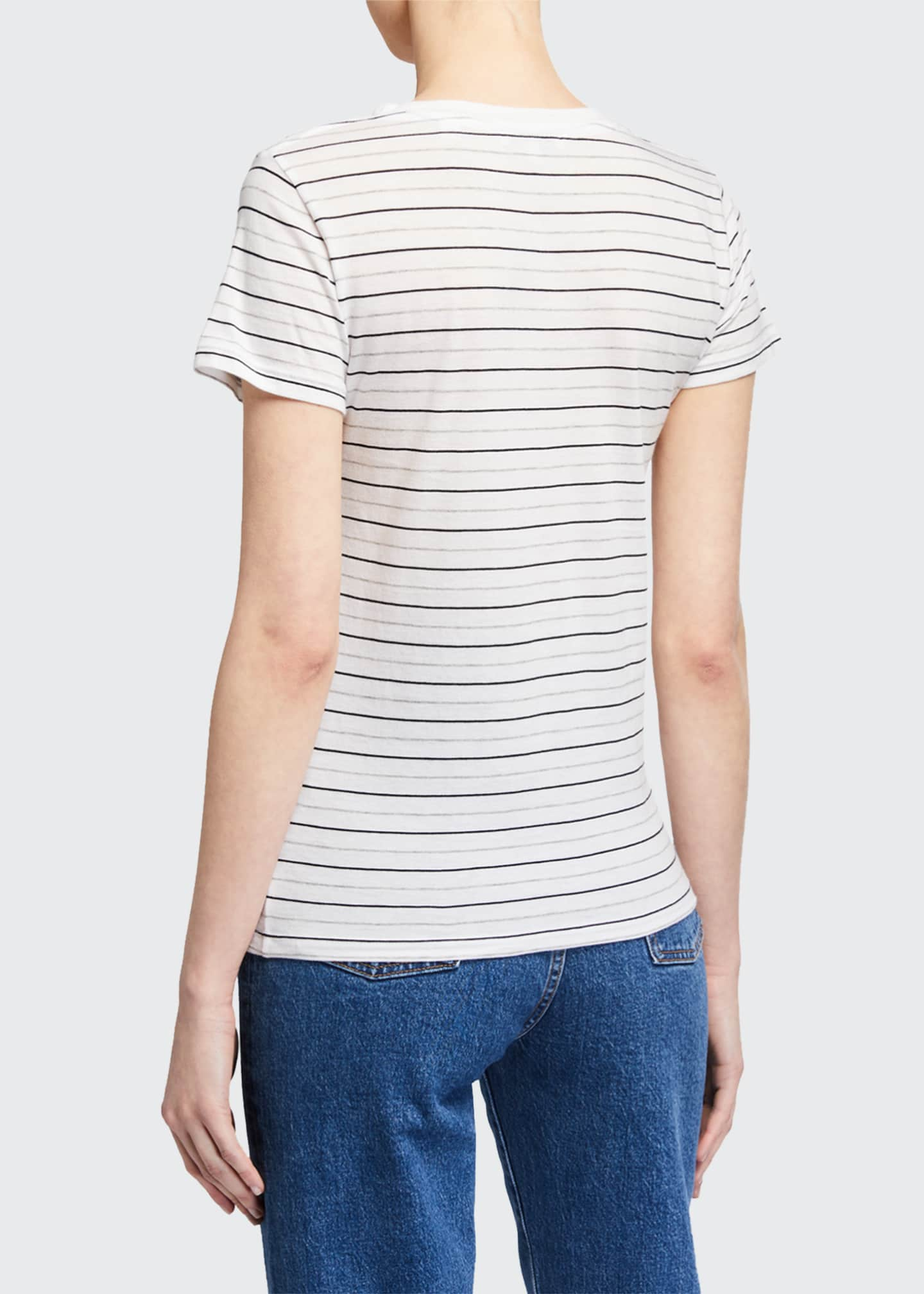 Image 2 of 2: Essential Striped V-Neck Pima Cotton Tee