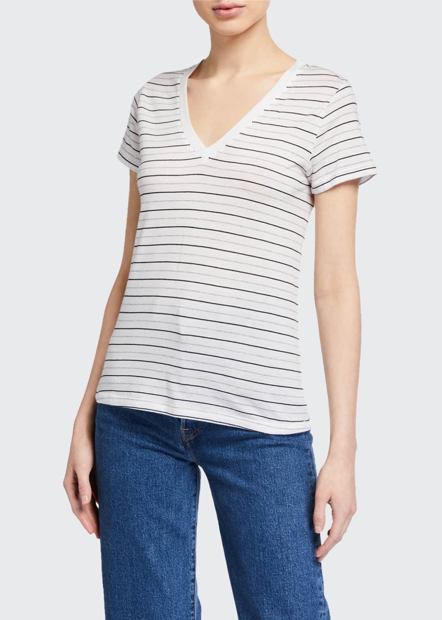 Image 1 of 2: Essential Striped V-Neck Pima Cotton Tee