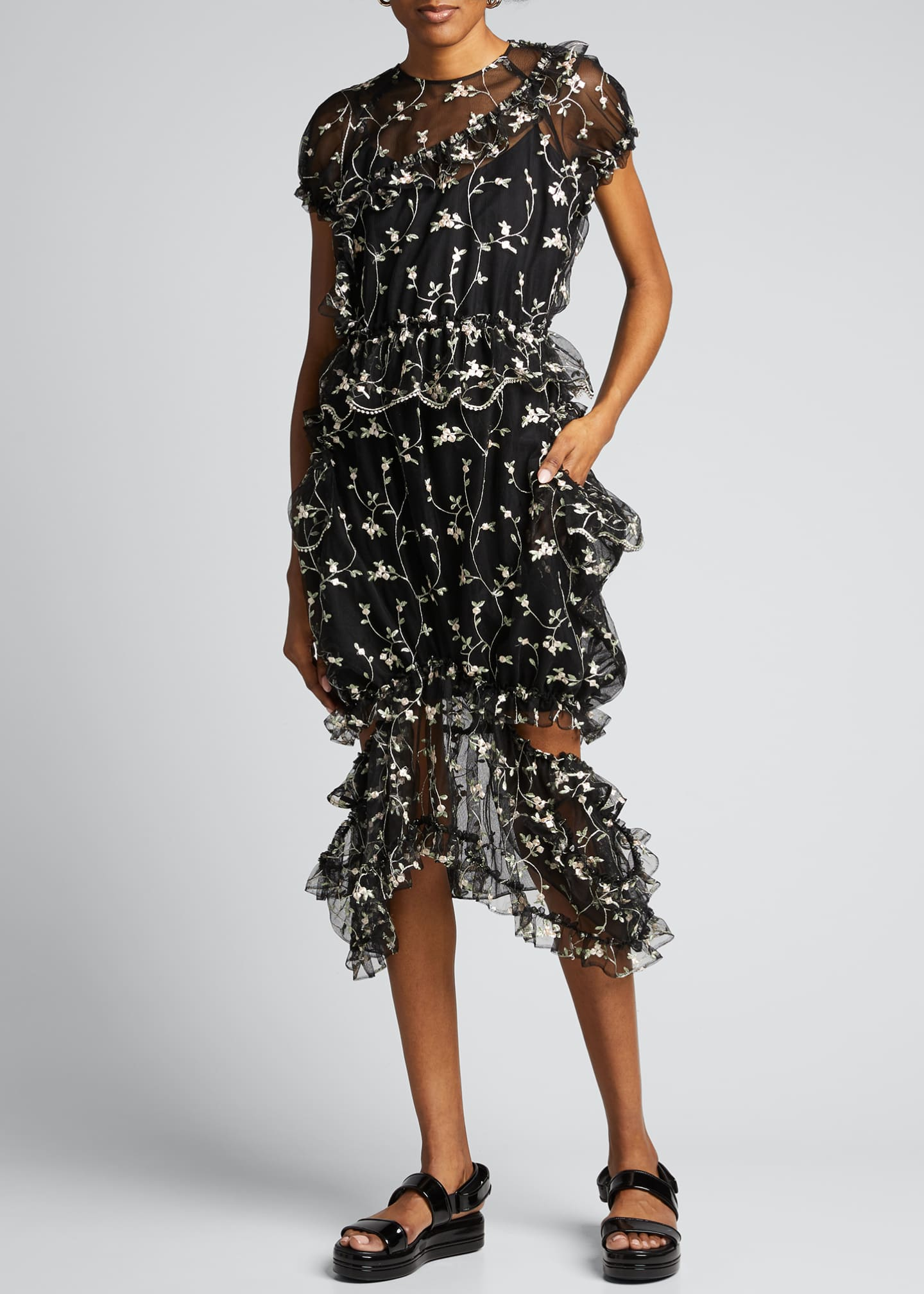 Image 3 of 5: Floral Print Chiffon Puff-Sleeve Dress