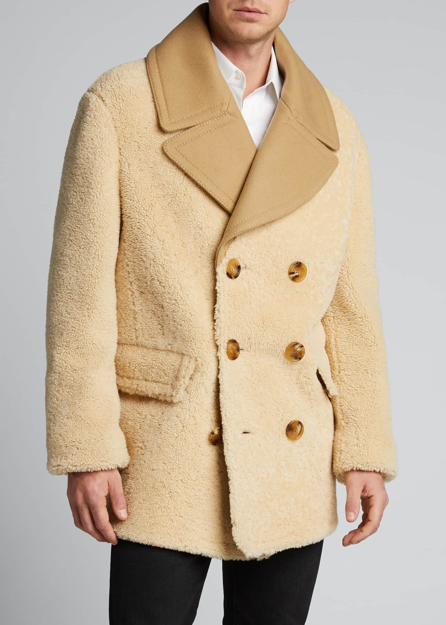 Image 3 of 5: Men's Pickwell Shearling Double-Breasted Coat
