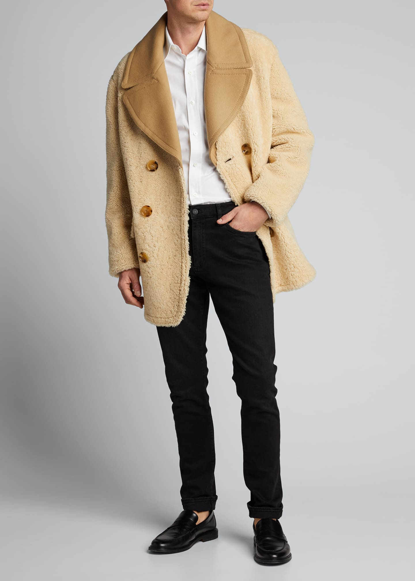 Image 1 of 5: Men's Pickwell Shearling Double-Breasted Coat