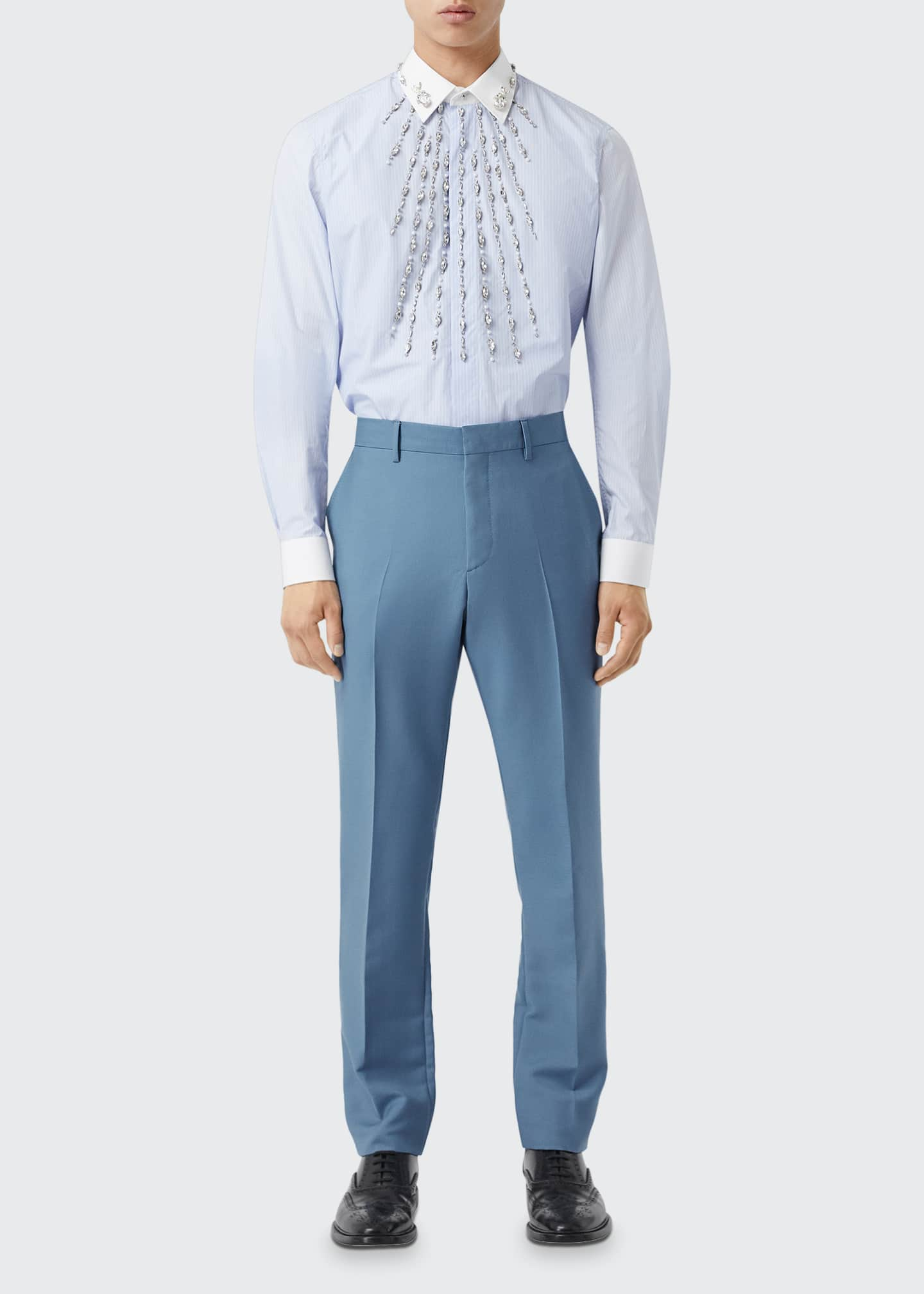 Image 1 of 3: Men's High-Rise Mohair-Wool Suit Pants