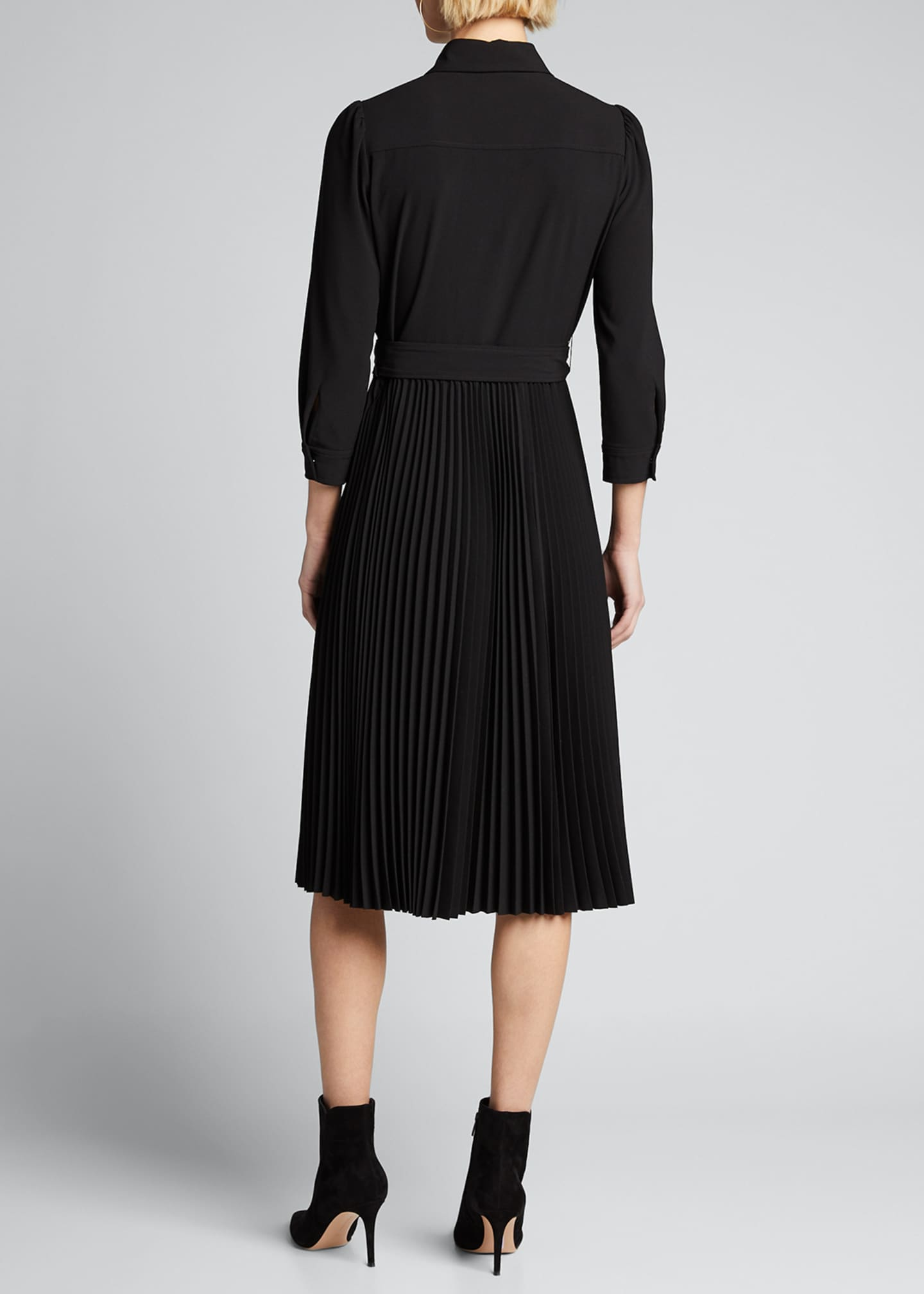 Image 2 of 5: Ere 3/4-Sleeve Pleated Skirt Shirtdress