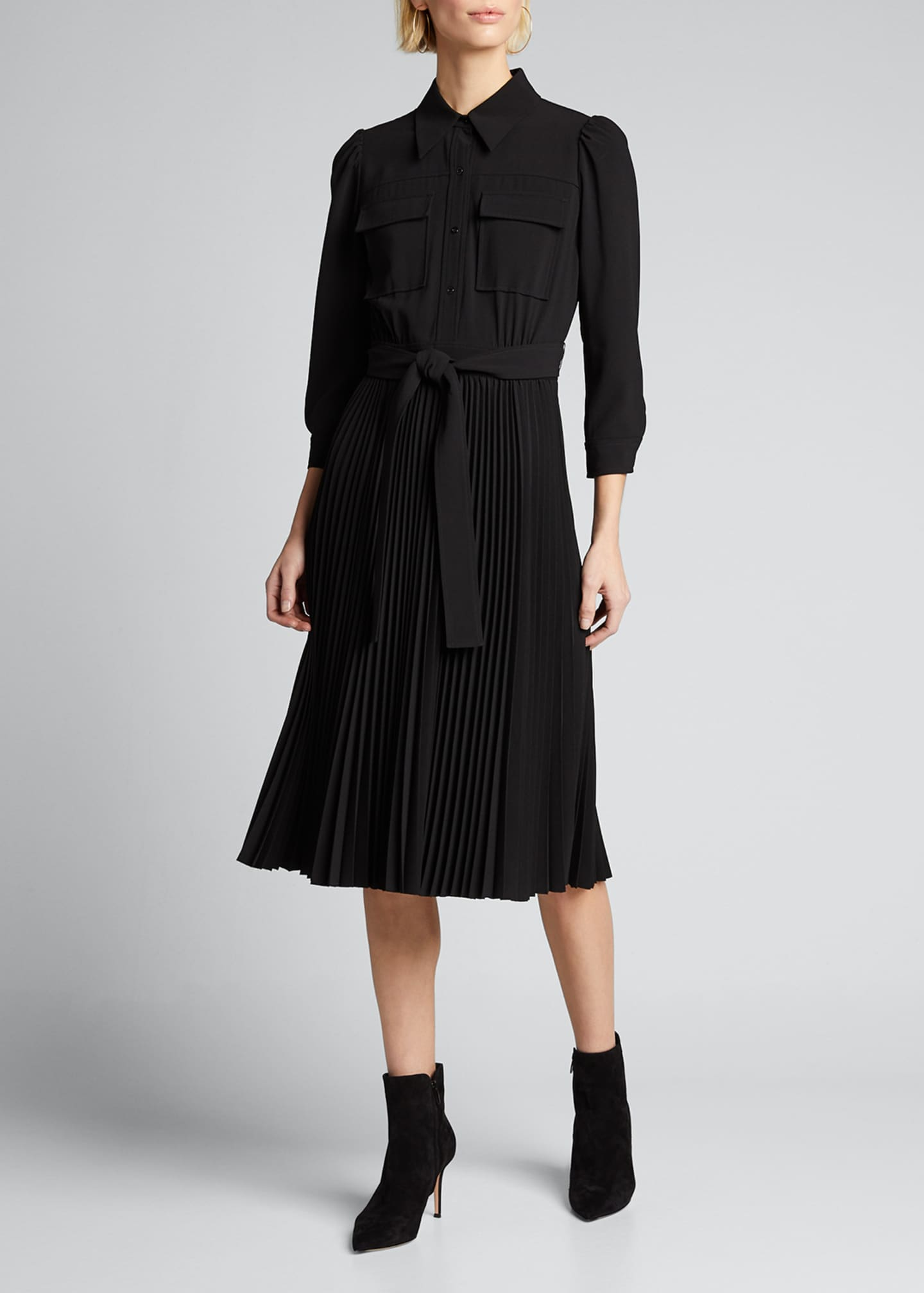 Image 3 of 5: Ere 3/4-Sleeve Pleated Skirt Shirtdress