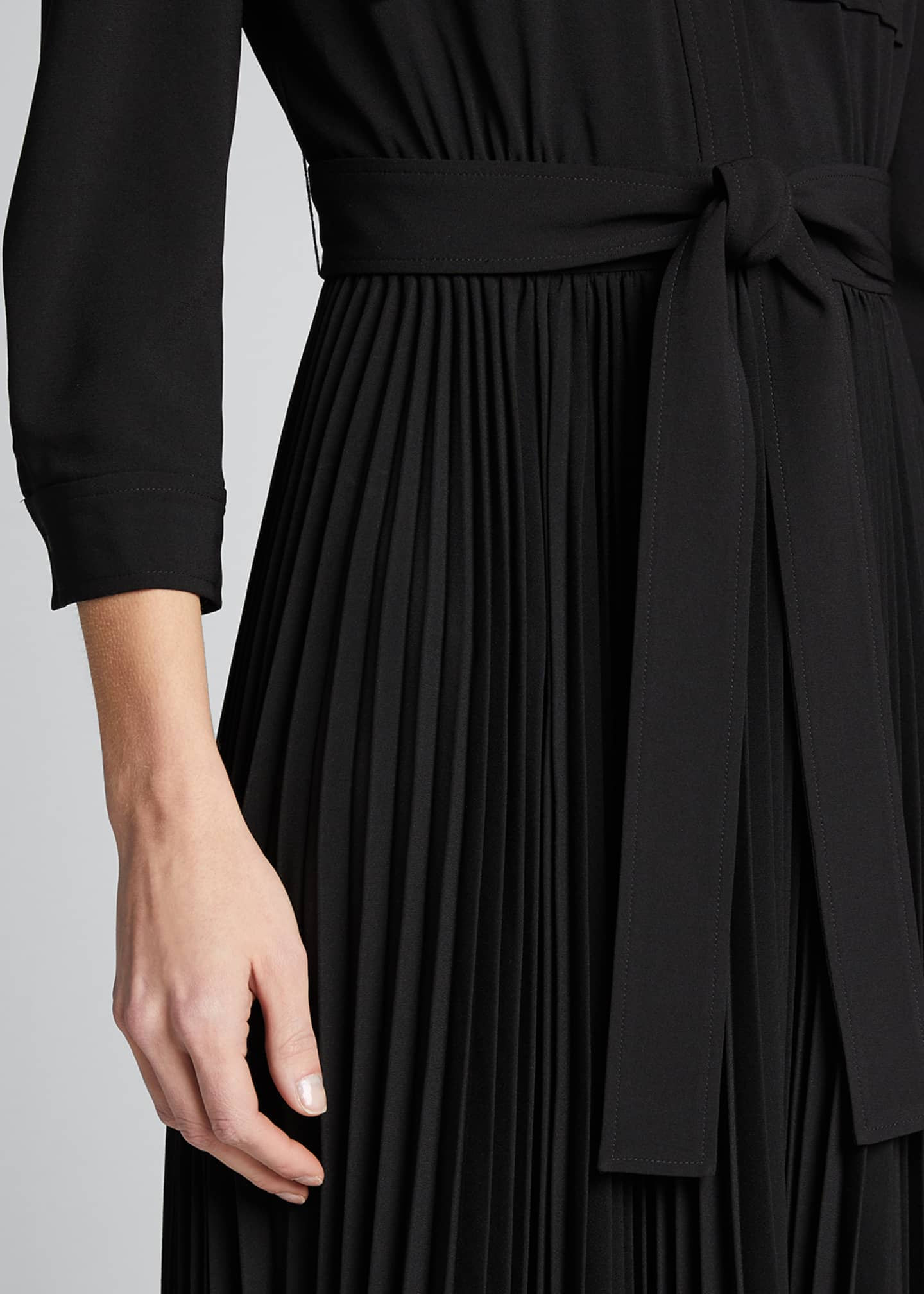 Image 4 of 5: Ere 3/4-Sleeve Pleated Skirt Shirtdress