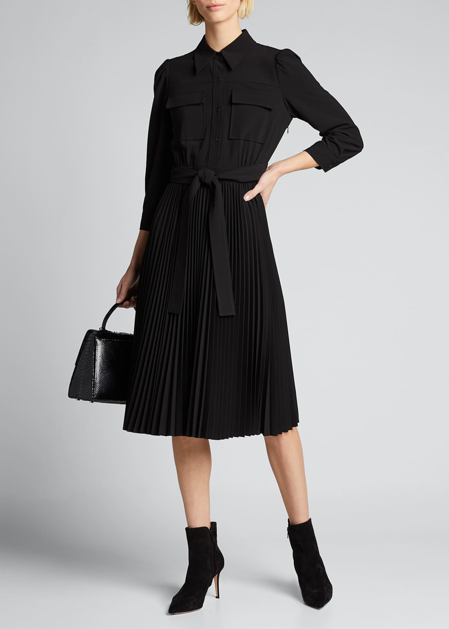 Image 1 of 5: Ere 3/4-Sleeve Pleated Skirt Shirtdress