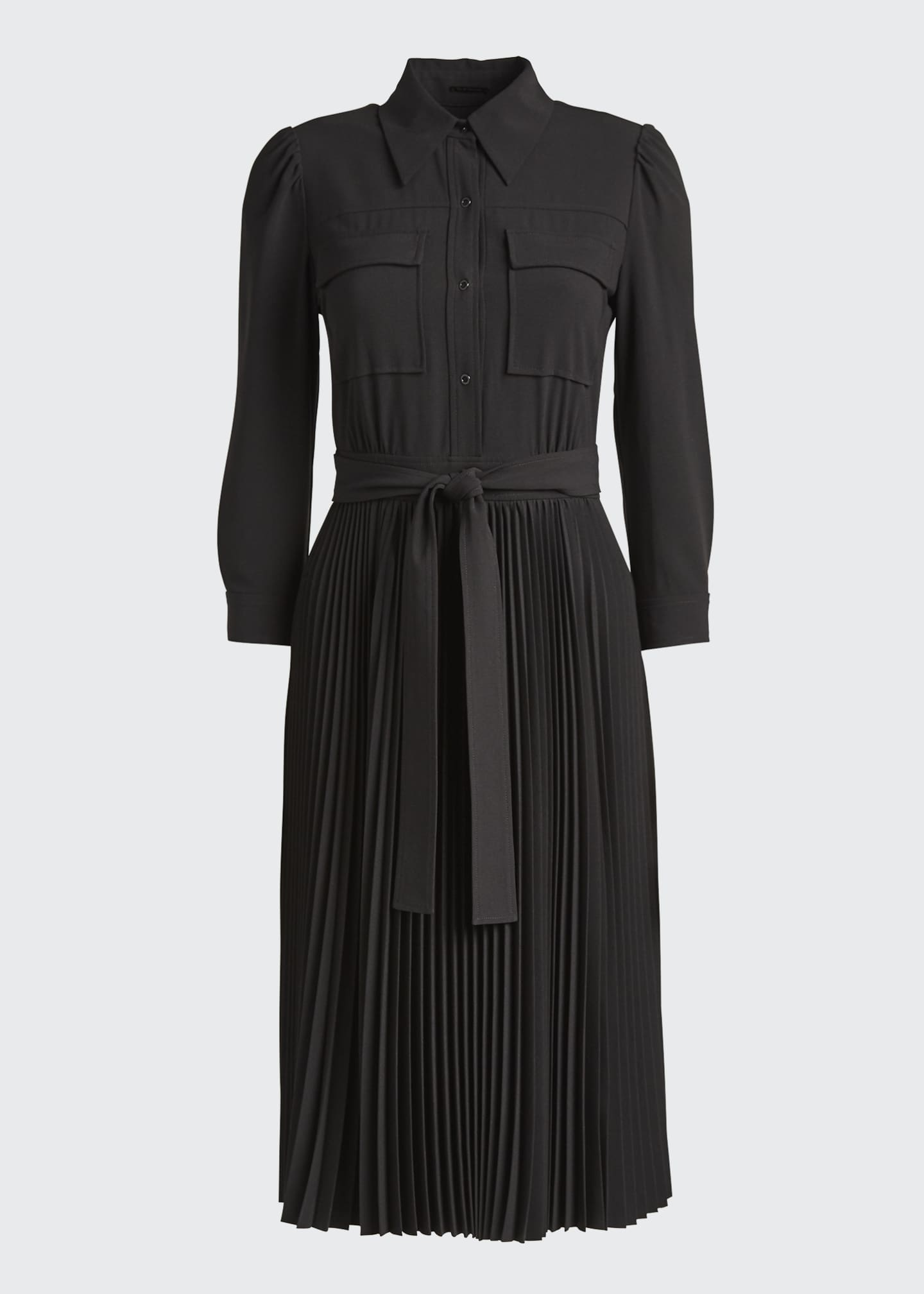 Image 5 of 5: Ere 3/4-Sleeve Pleated Skirt Shirtdress