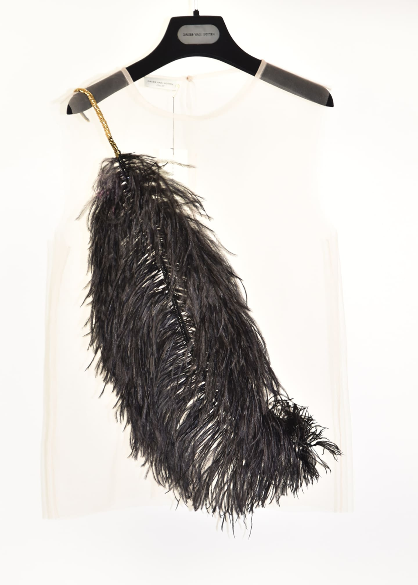 Image 1 of 1: Sheer Sleeveless Shirt with Feather Detail