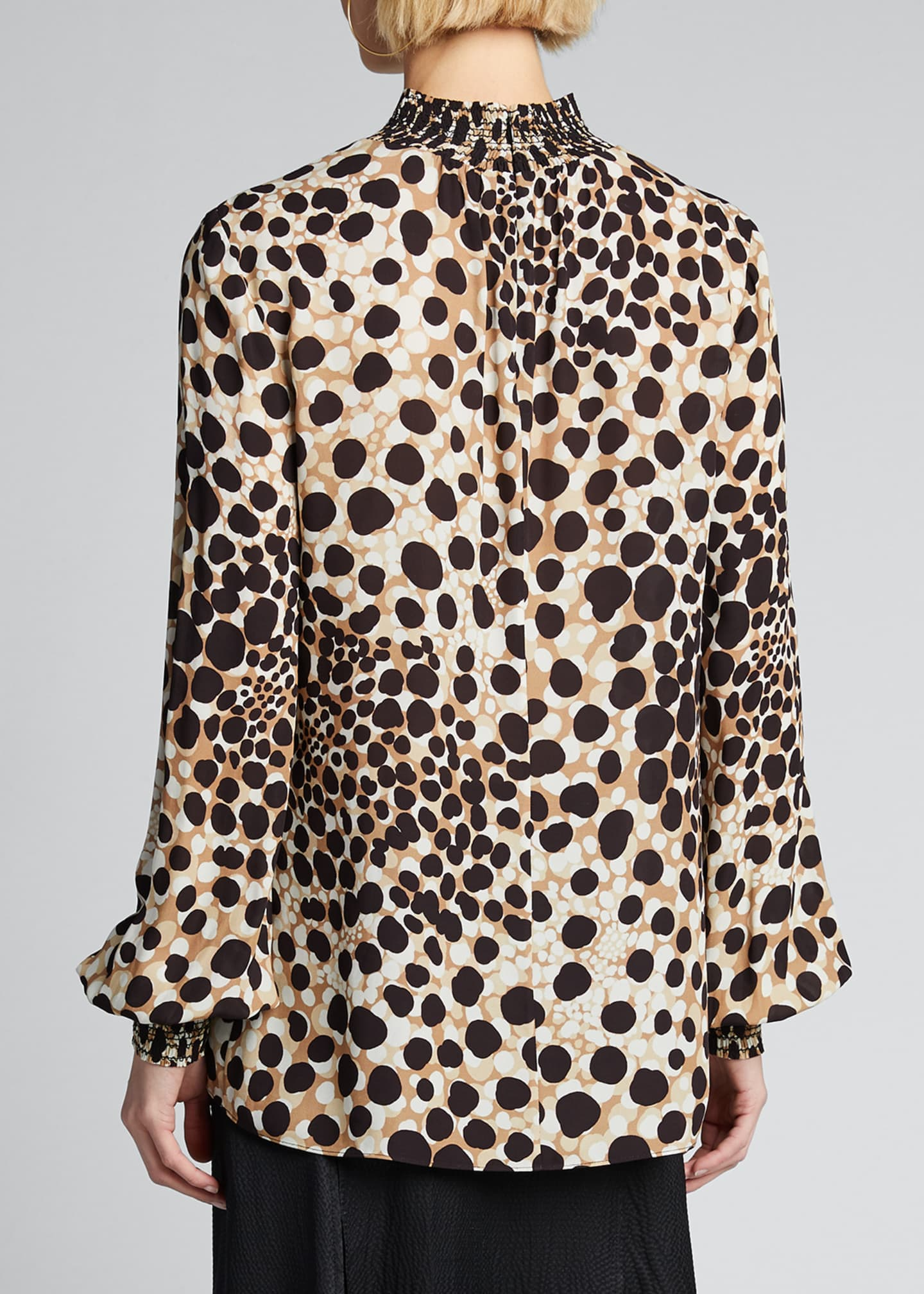 Image 2 of 5: Camden Leopard-Print Mock-Neck Silk Shirt