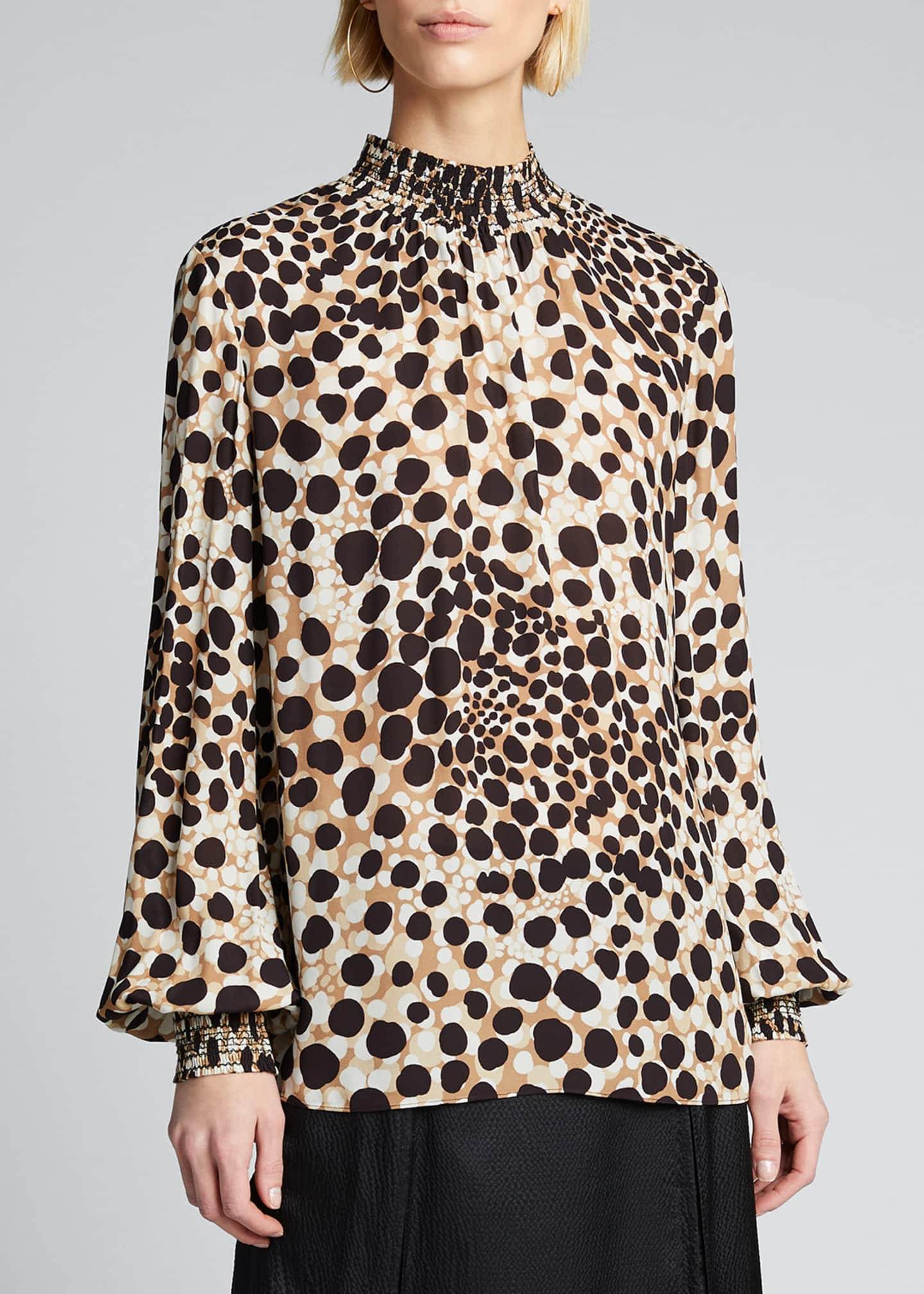Image 3 of 5: Camden Leopard-Print Mock-Neck Silk Shirt