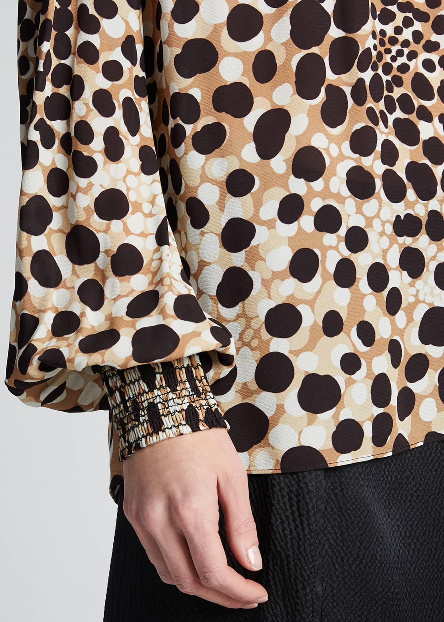 Image 4 of 5: Camden Leopard-Print Mock-Neck Silk Shirt