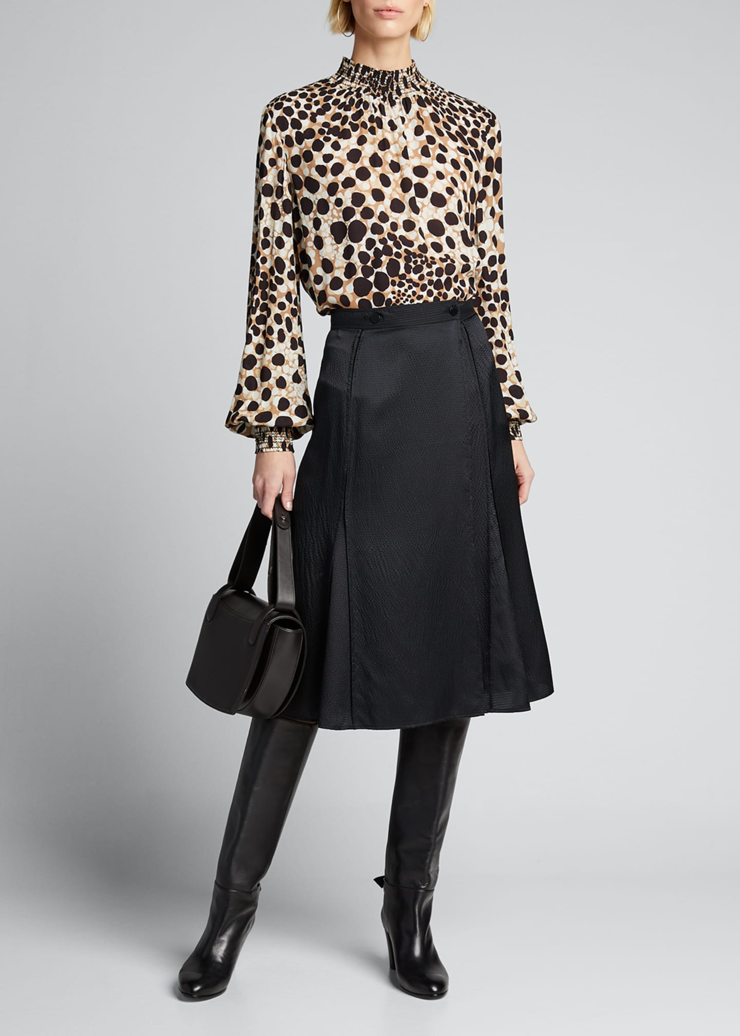 Image 1 of 5: Camden Leopard-Print Mock-Neck Silk Shirt