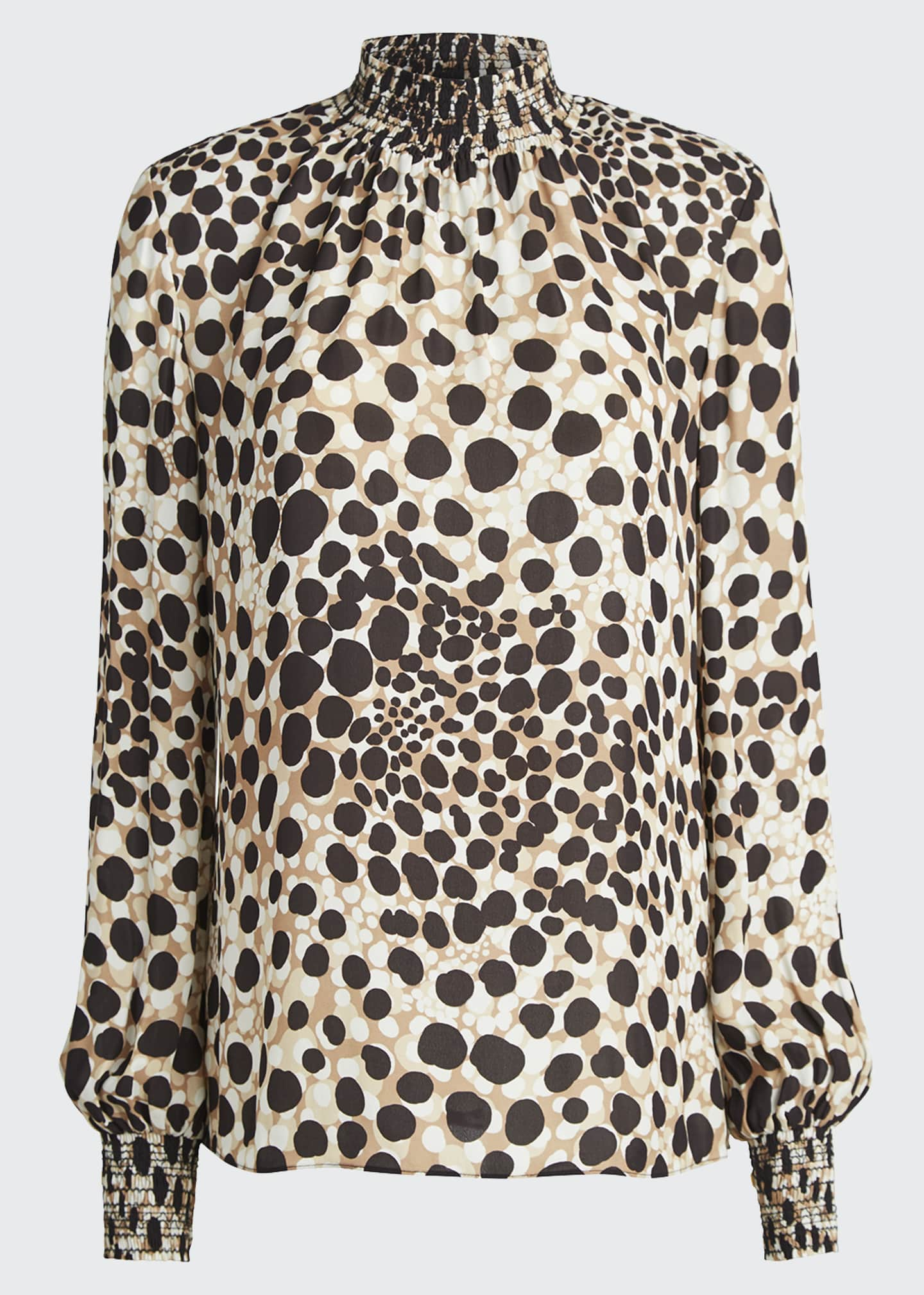 Image 5 of 5: Camden Leopard-Print Mock-Neck Silk Shirt