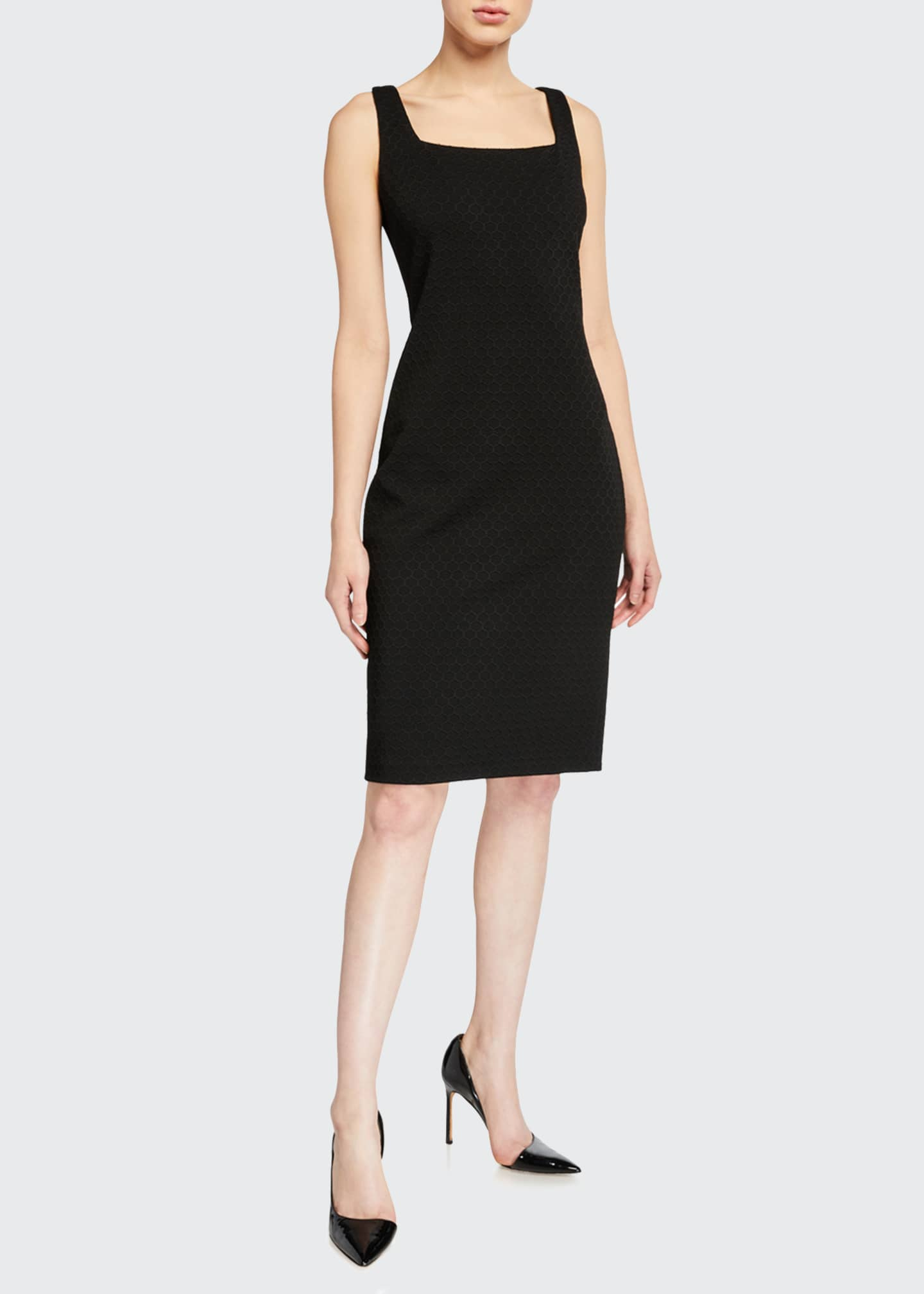Image 1 of 2: Lowell Square-Neck Ponte Sheath Dress