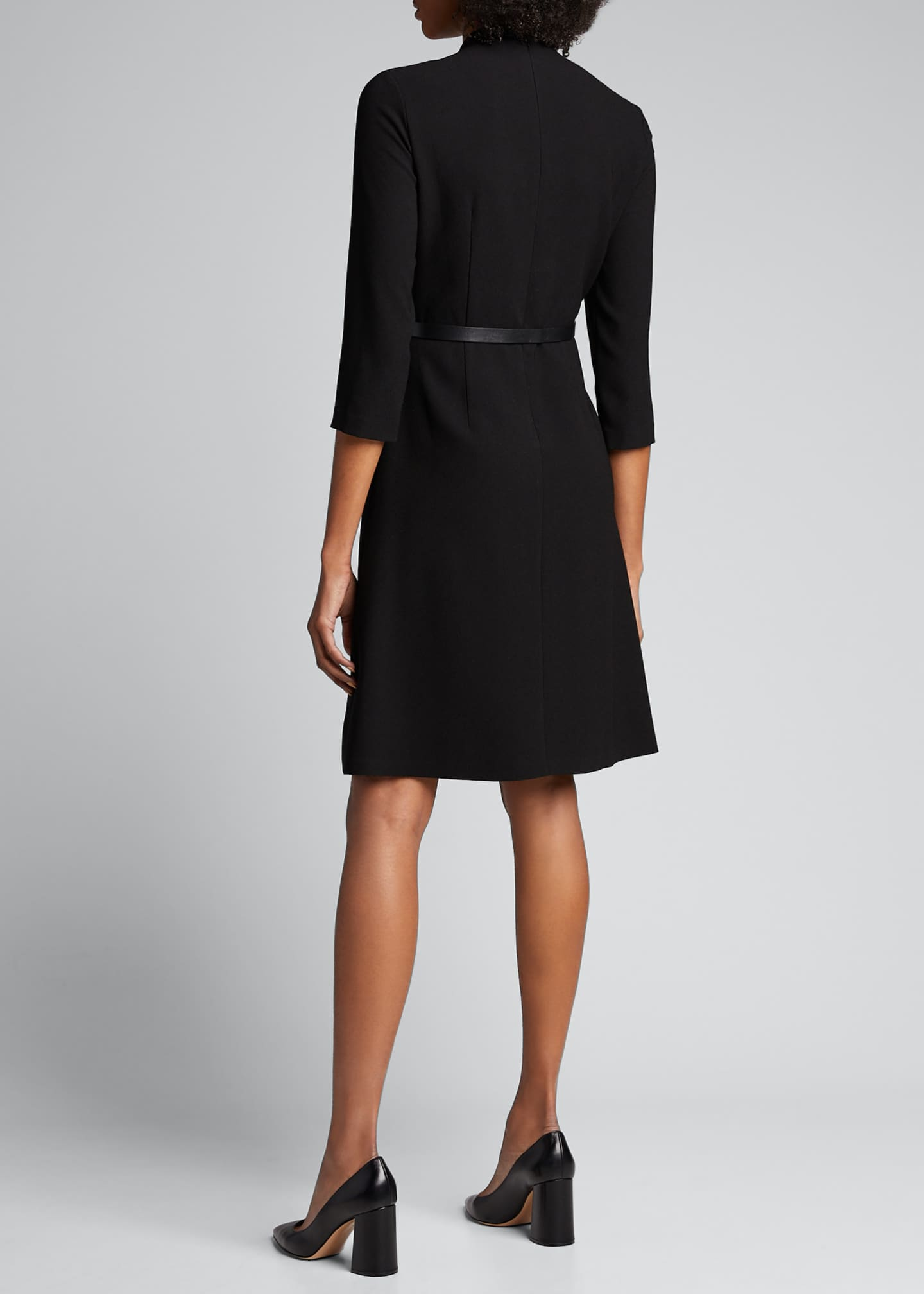 Image 2 of 5: Elodie Belted 3/4-Sleeve Crepe Dress