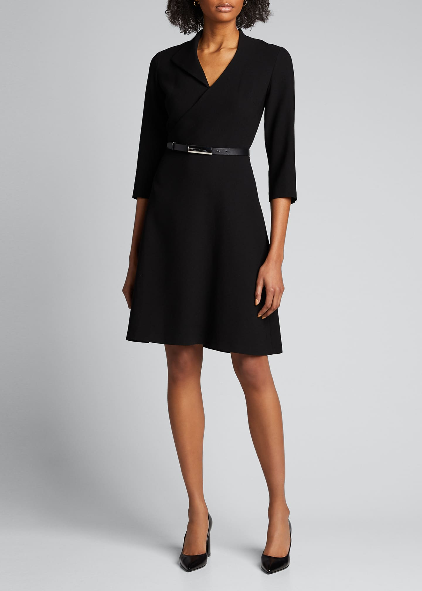 Image 3 of 5: Elodie Belted 3/4-Sleeve Crepe Dress