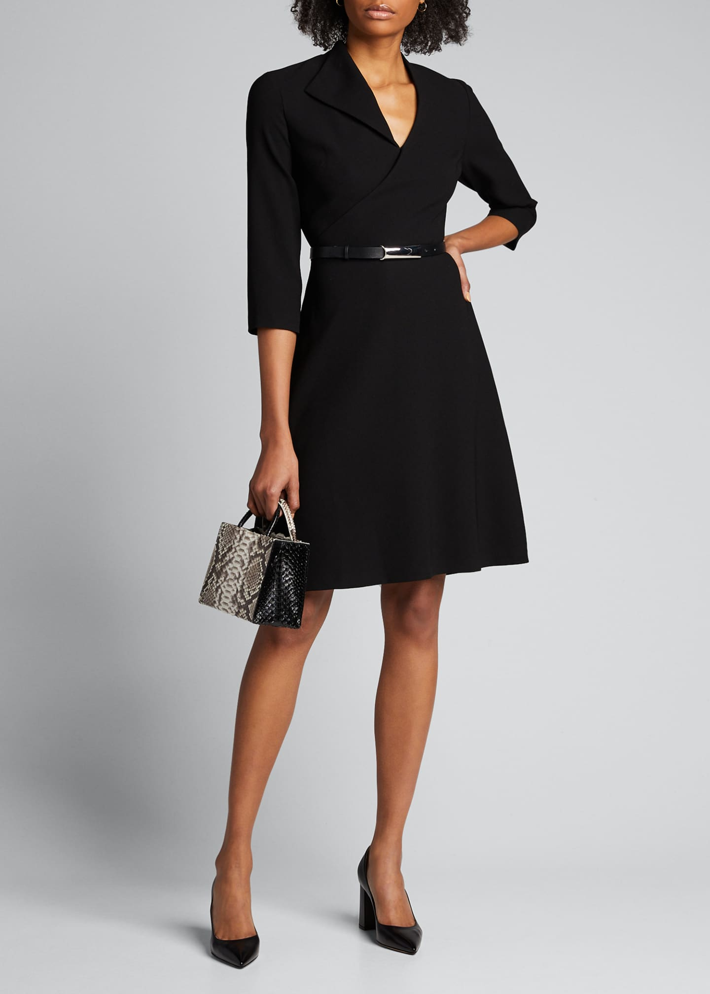 Image 1 of 5: Elodie Belted 3/4-Sleeve Crepe Dress