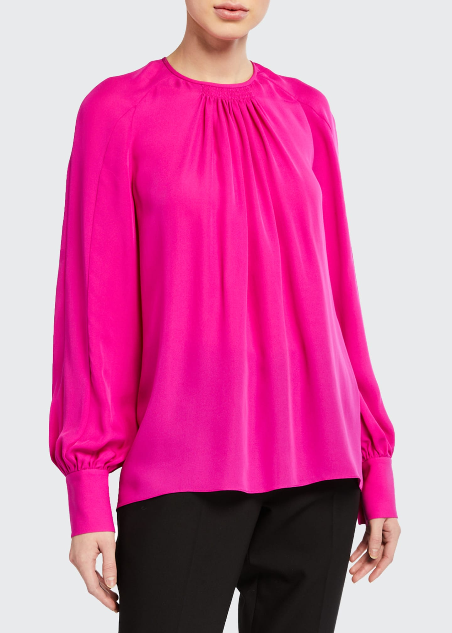 Image 1 of 2: Eliza Long-Sleeve Silk Shirt