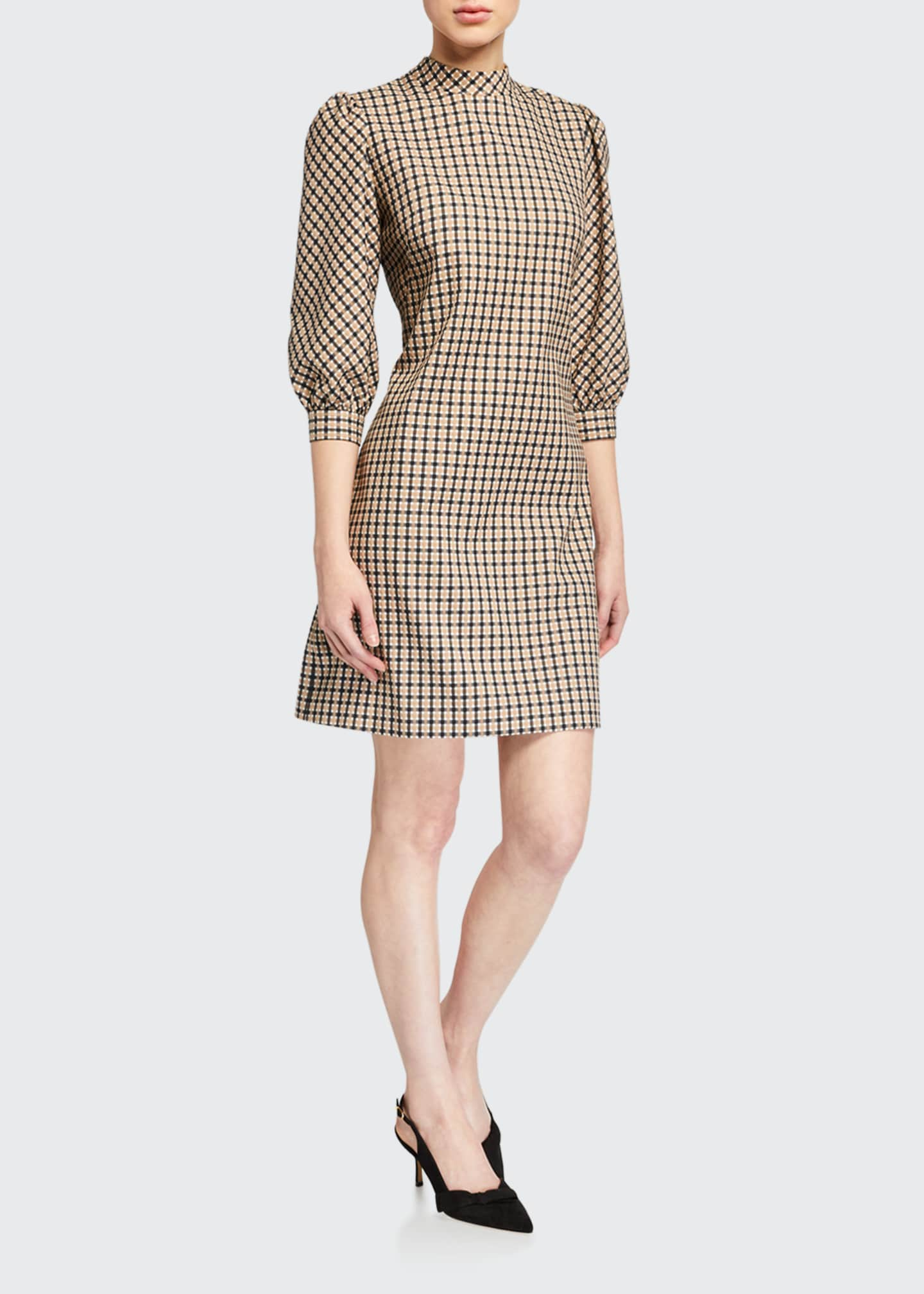 Image 1 of 2: Emilia Mock-Neck Check Dress