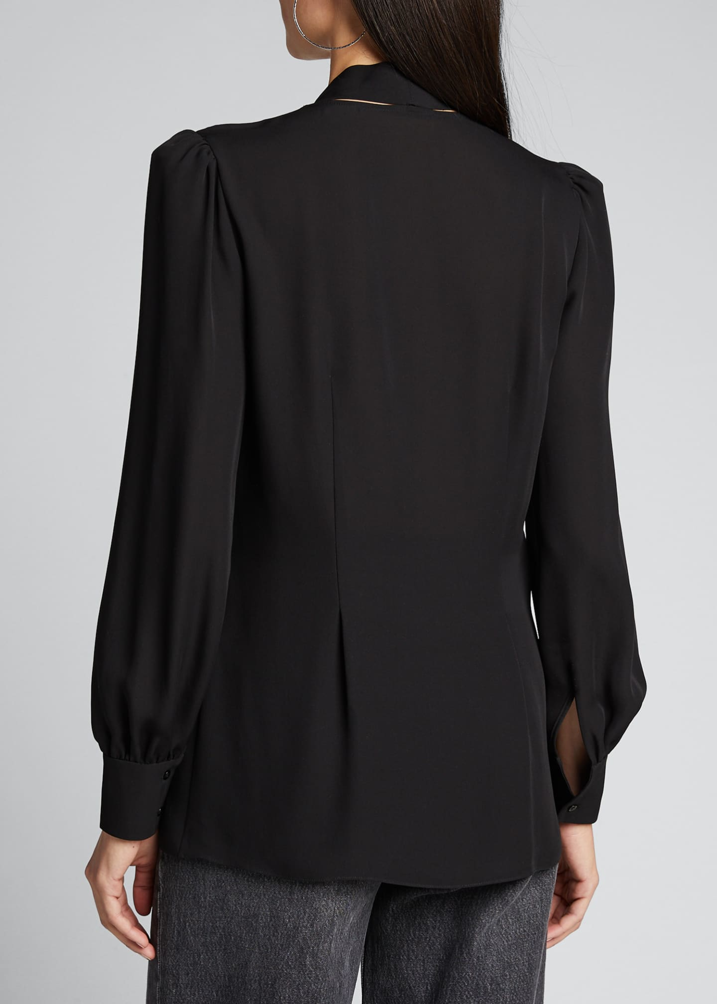 Image 2 of 5: Percy Tie-Neck Long-Sleeve Silk Shirt