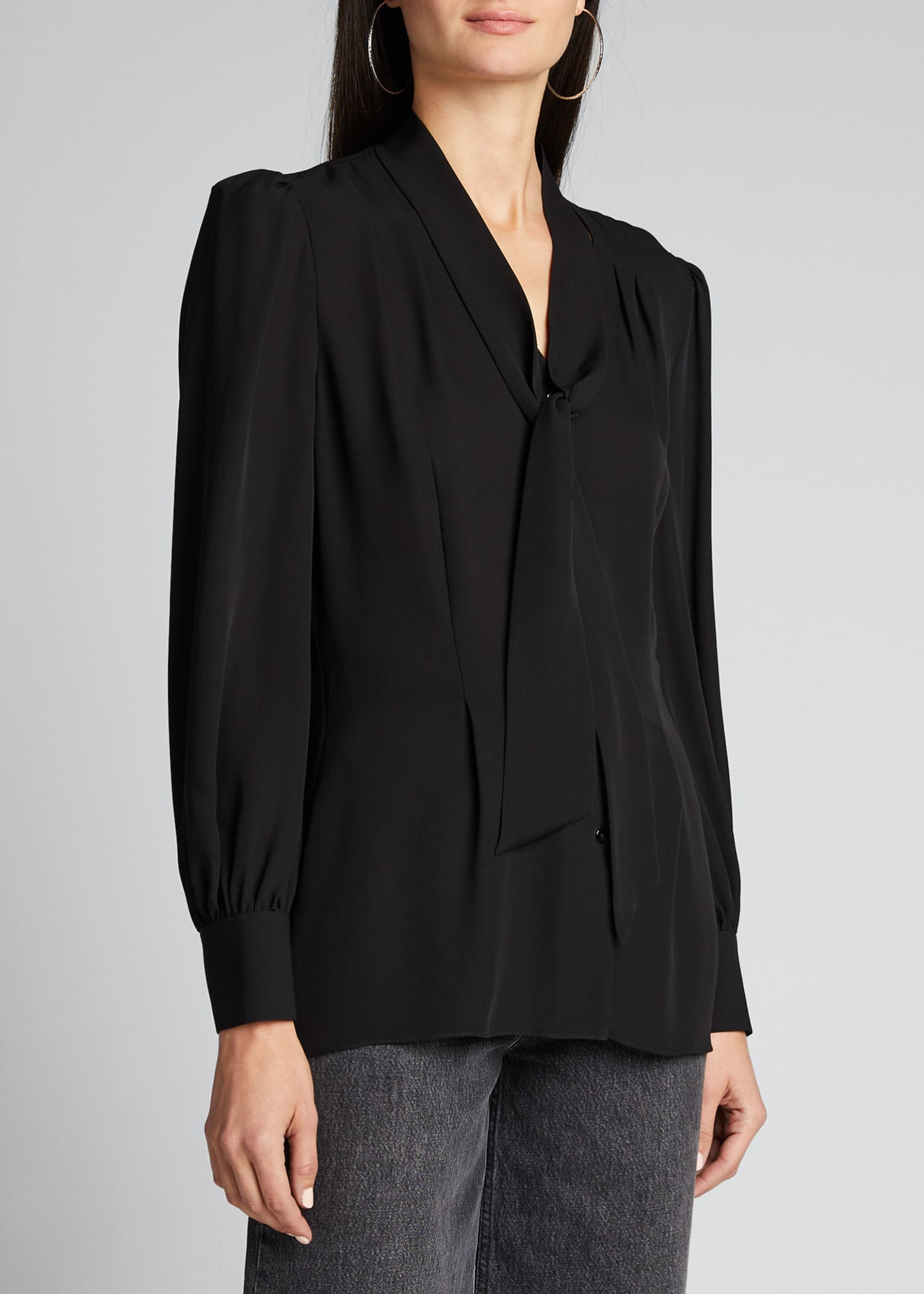 Image 3 of 5: Percy Tie-Neck Long-Sleeve Silk Shirt