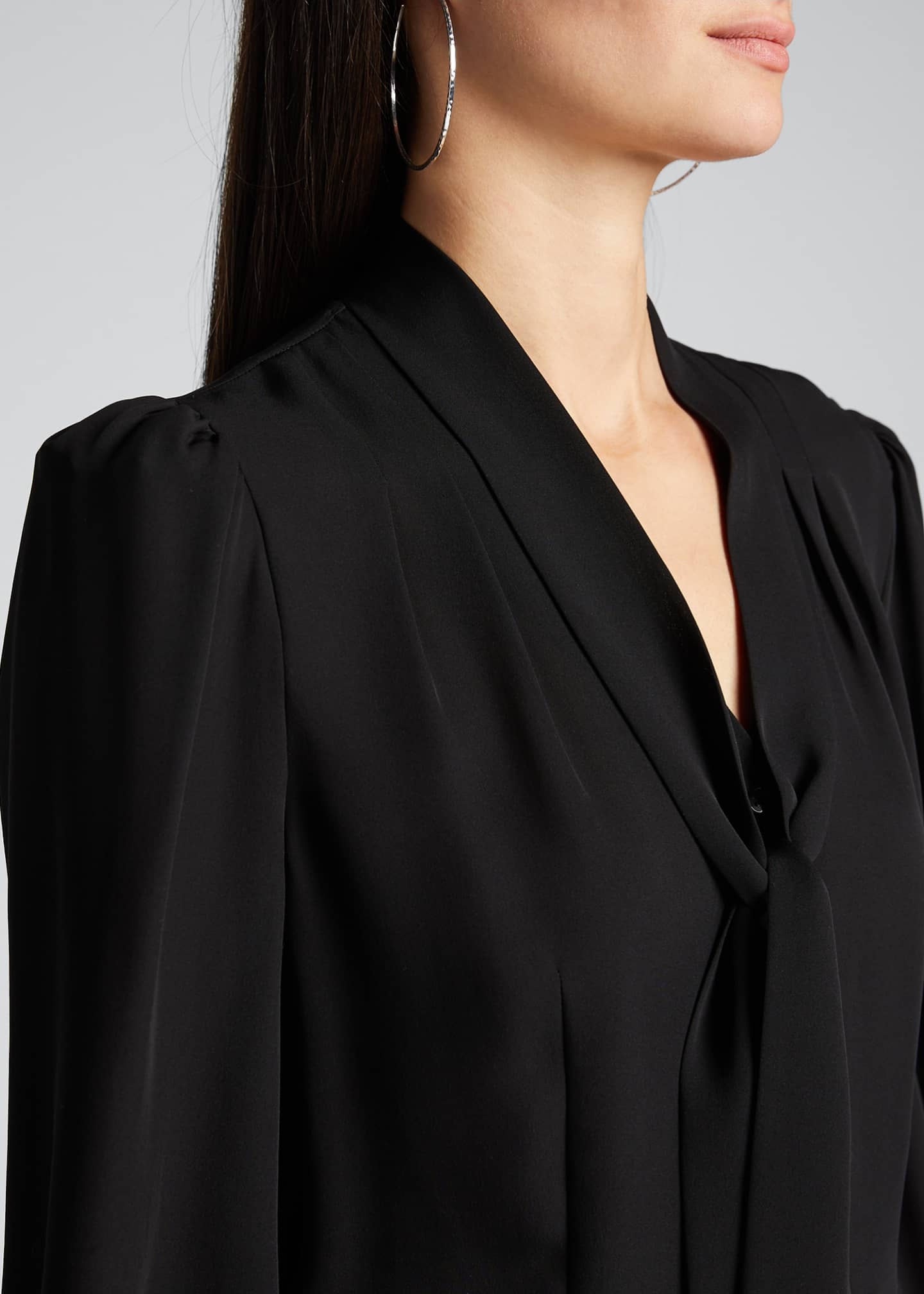 Image 4 of 5: Percy Tie-Neck Long-Sleeve Silk Shirt