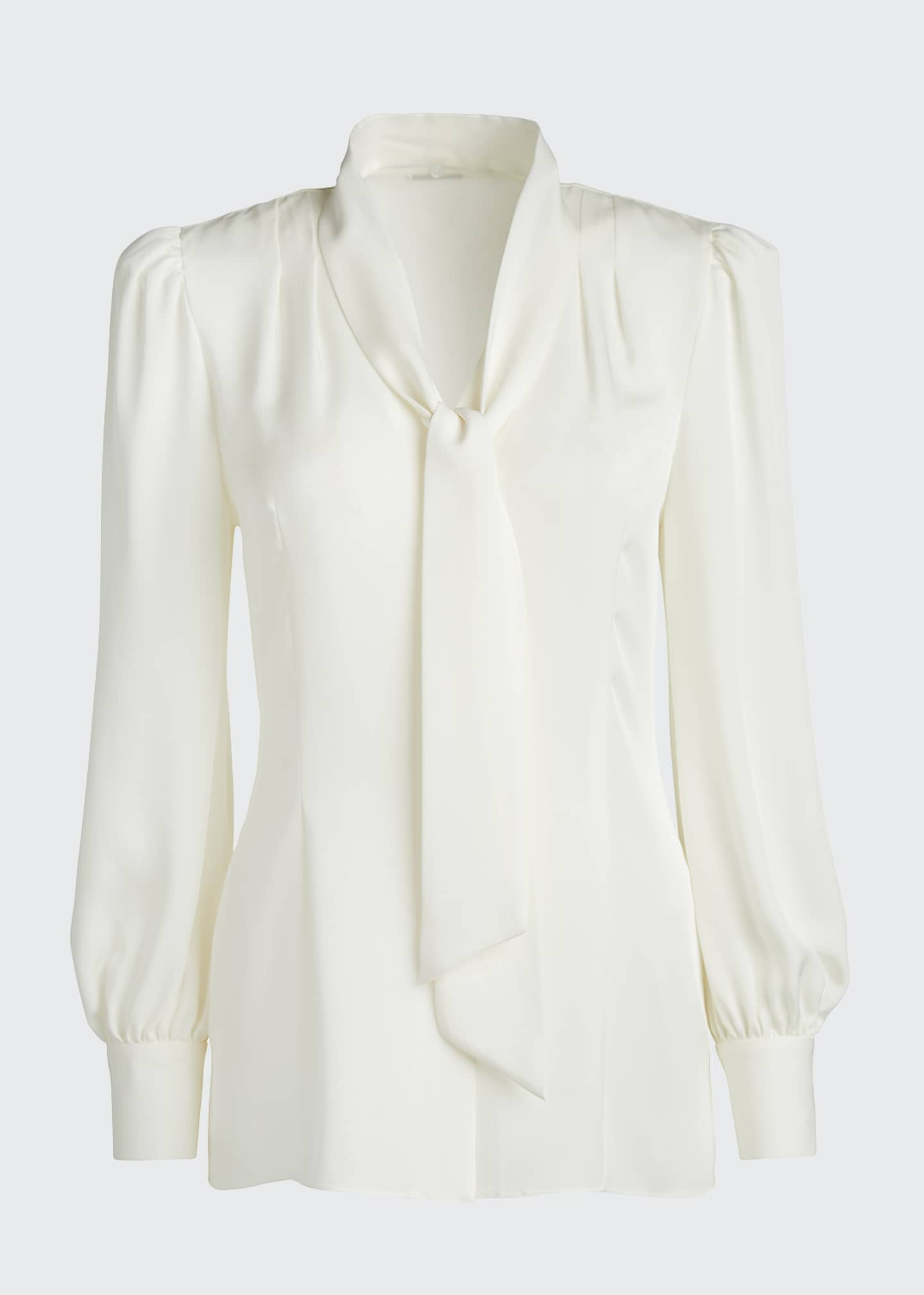 Image 5 of 5: Percy Tie-Neck Long-Sleeve Silk Shirt