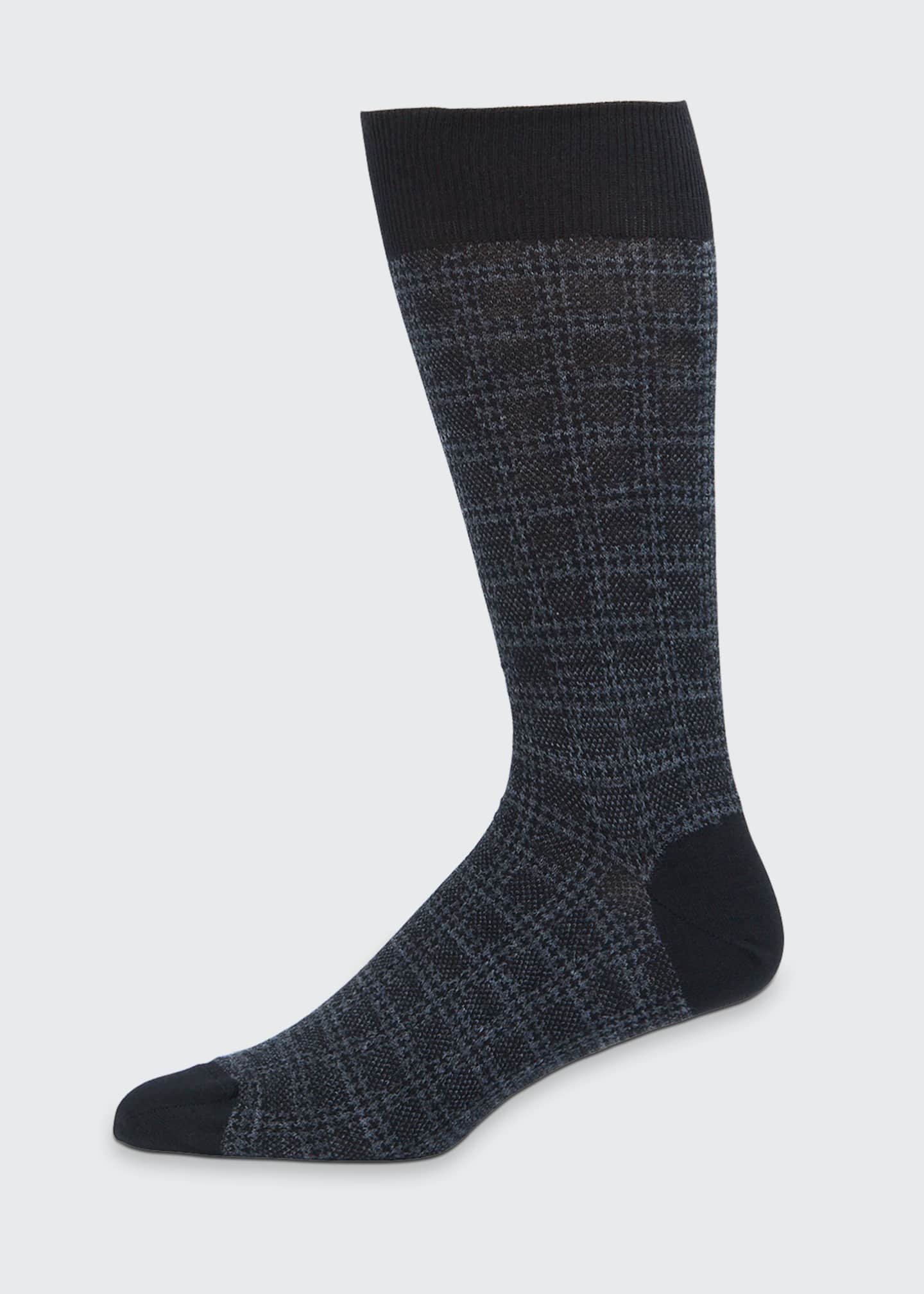 Image 1 of 1: Men's Box Plaid Wool-Blend Socks