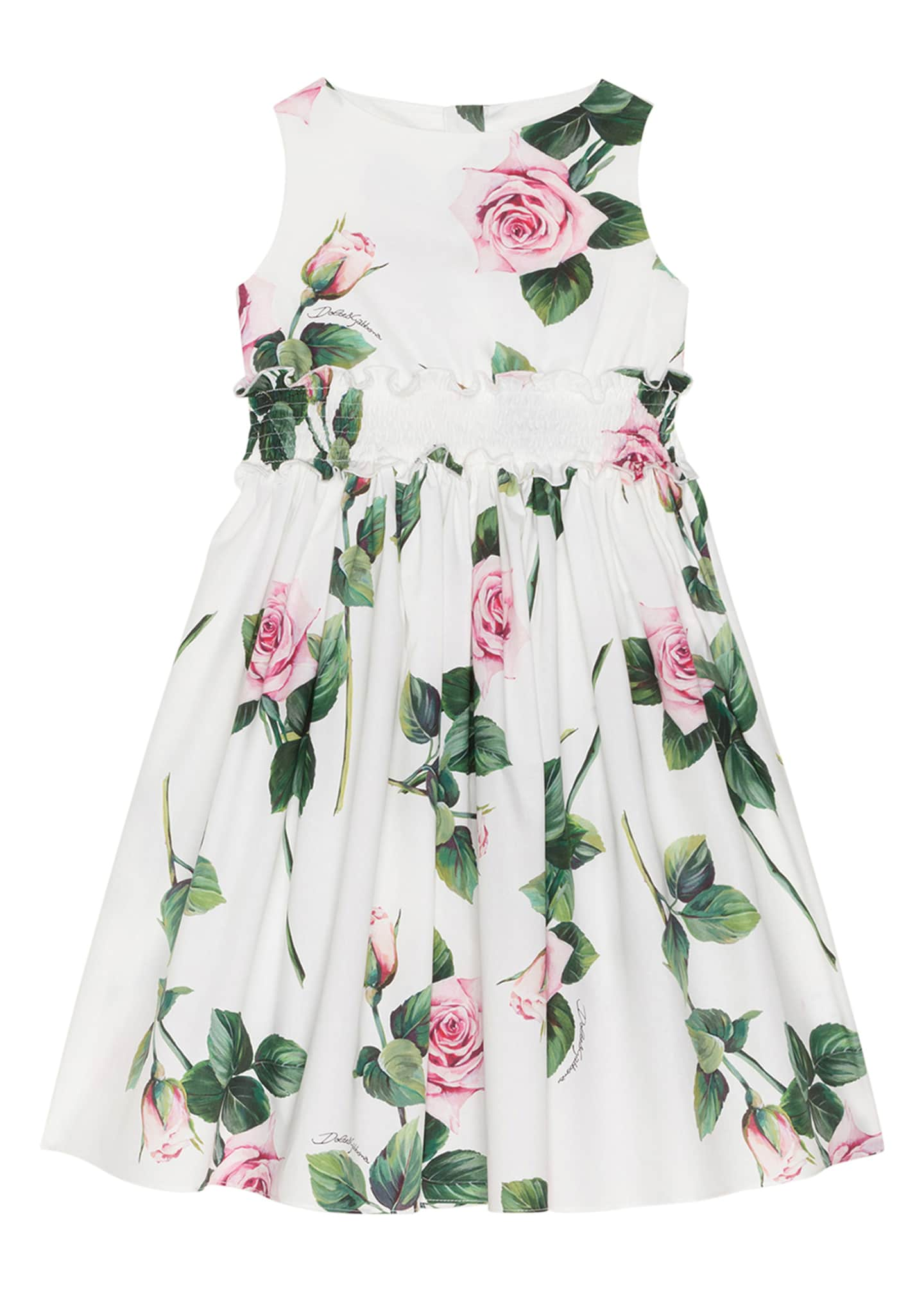 Image 1 of 2: Girl's Tropical Rose Shirred Waist Dress, Size 4-6