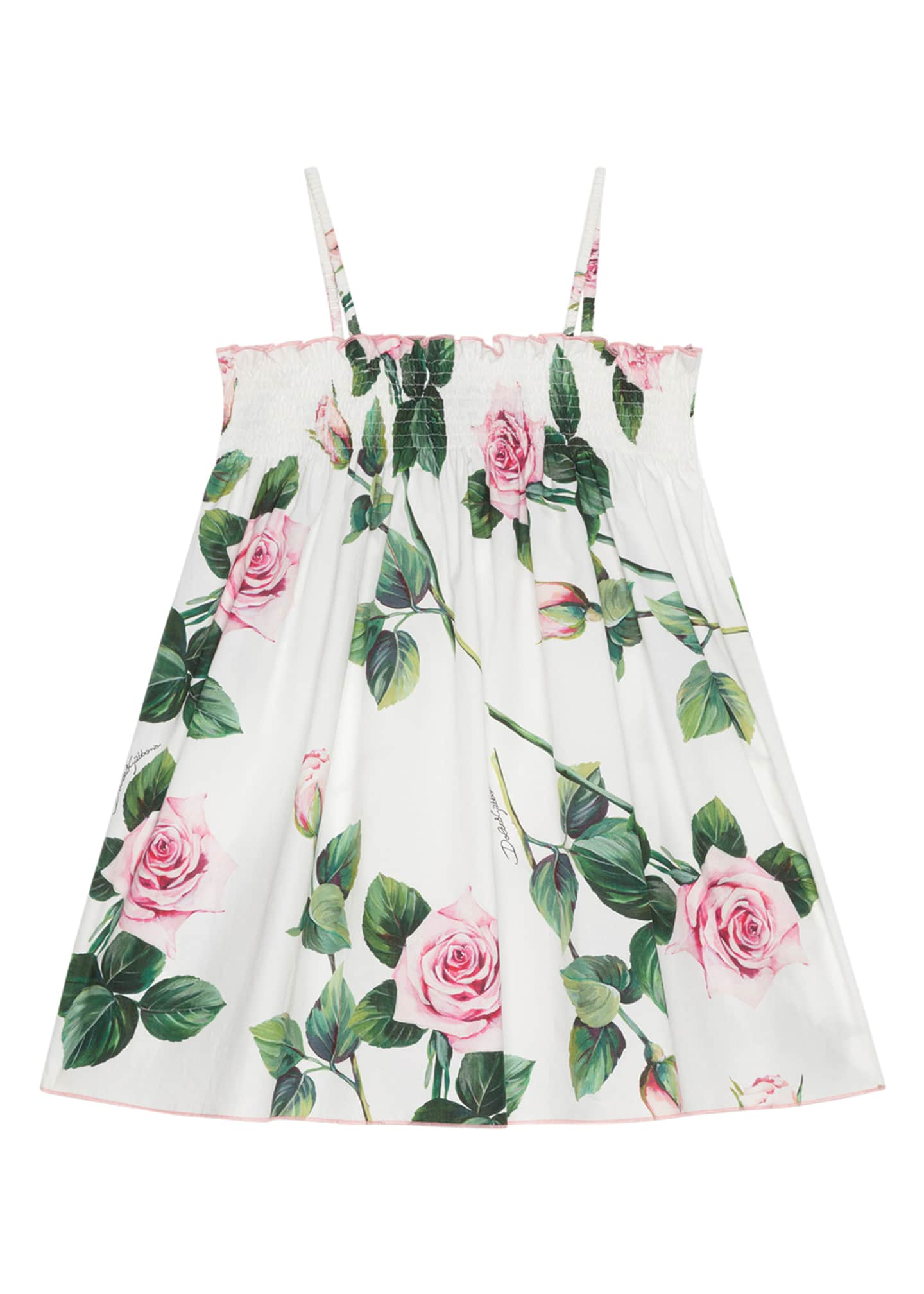 Image 2 of 2: Girl's Tropical Rose Shirred Dress, Size 8-12