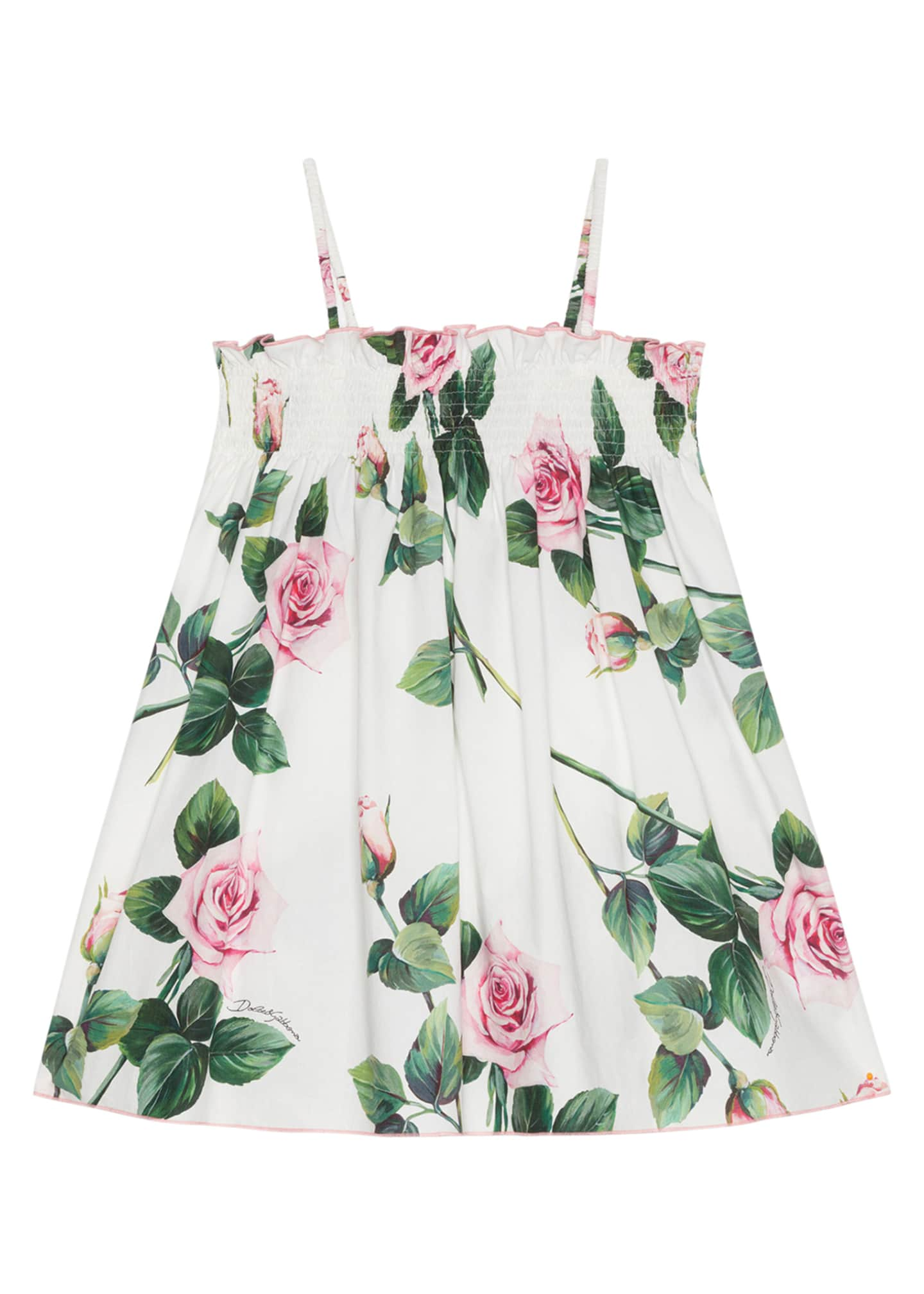 Image 1 of 2: Girl's Tropical Rose Shirred Dress, Size 8-12