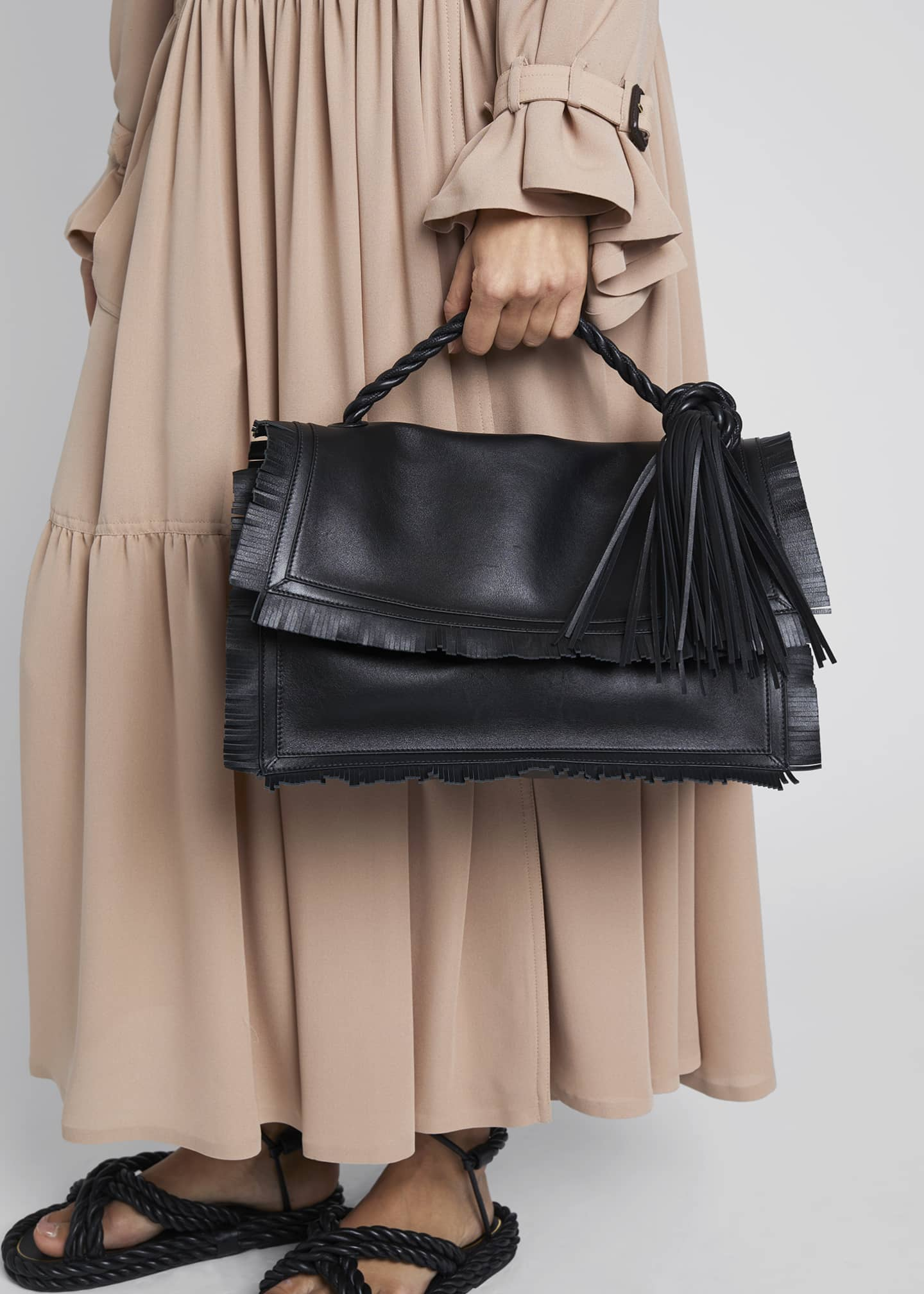Image 2 of 5: The Rope Fringe Leather Clutch Bag