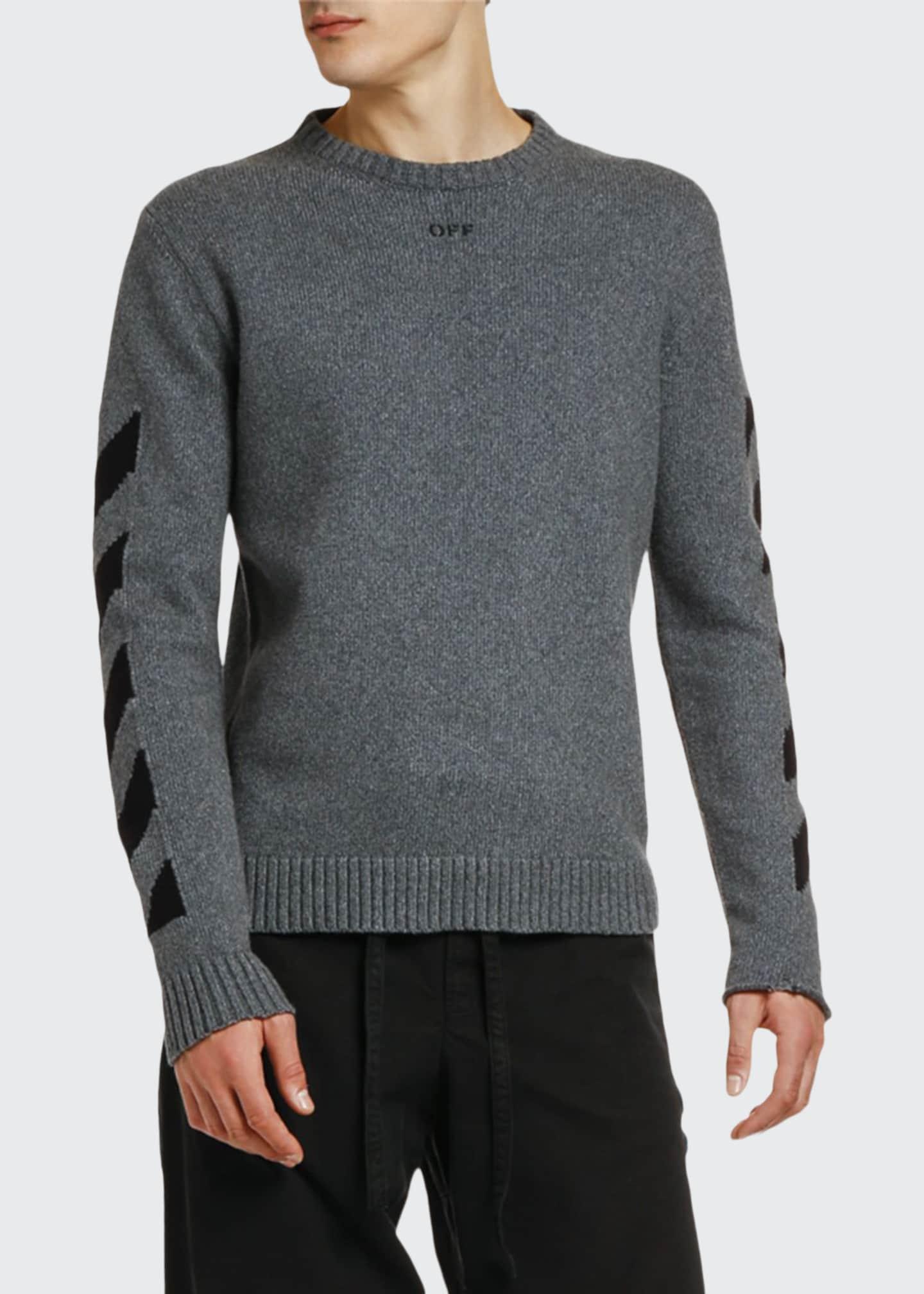 Off-White Men's Arrow Intarsia Knit Raw-Edge Sweater