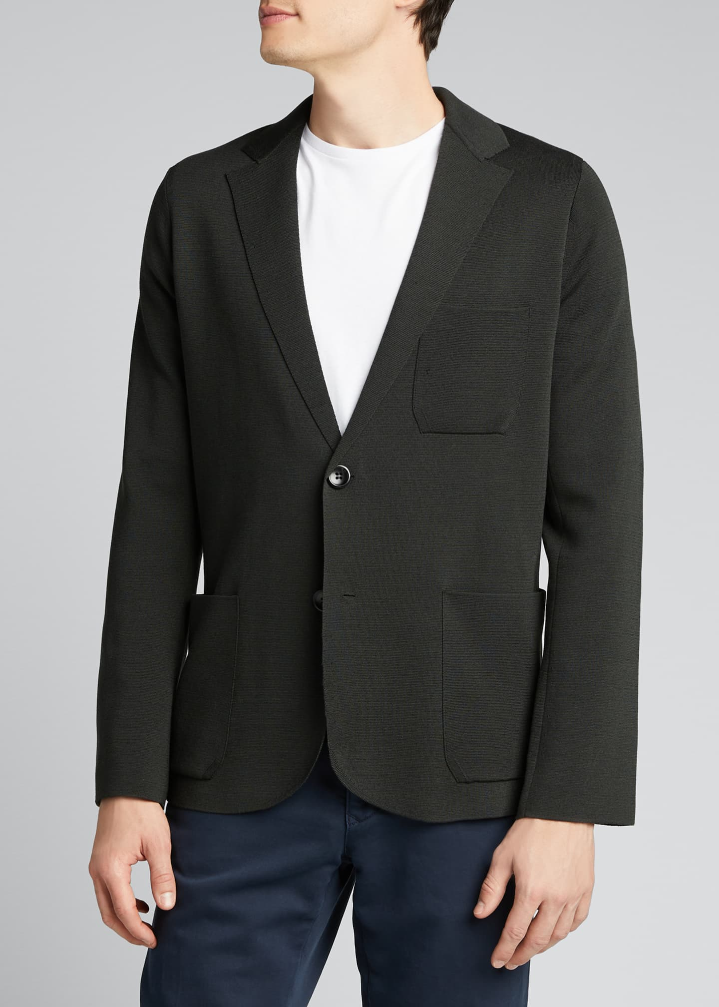 Image 3 of 5: Men's Solid Silk-Cotton Knit Blazer