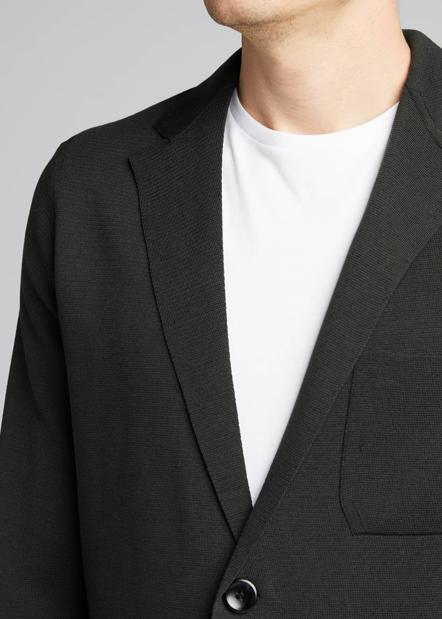 Image 4 of 5: Men's Solid Silk-Cotton Knit Blazer