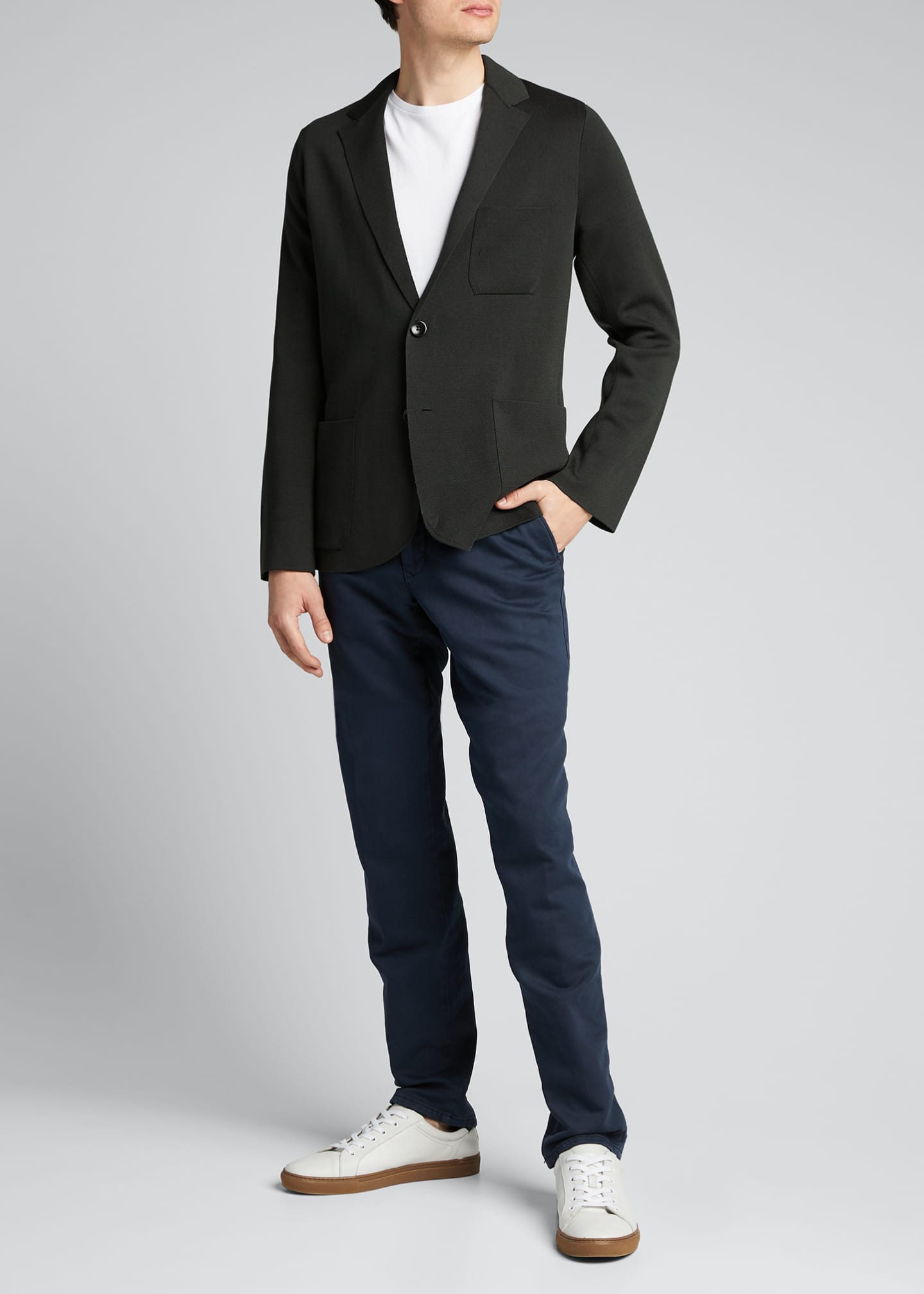 Image 1 of 5: Men's Solid Silk-Cotton Knit Blazer