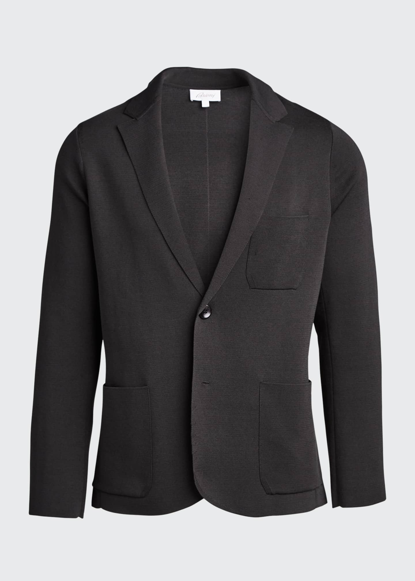 Image 5 of 5: Men's Solid Silk-Cotton Knit Blazer