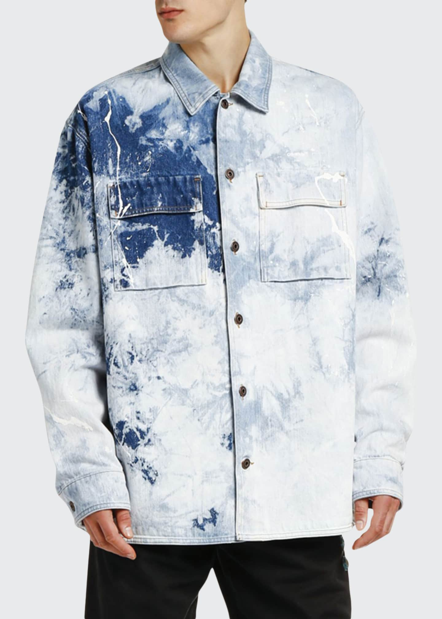 Off-White Men's Arrow Oversize Bleached Denim Shirt
