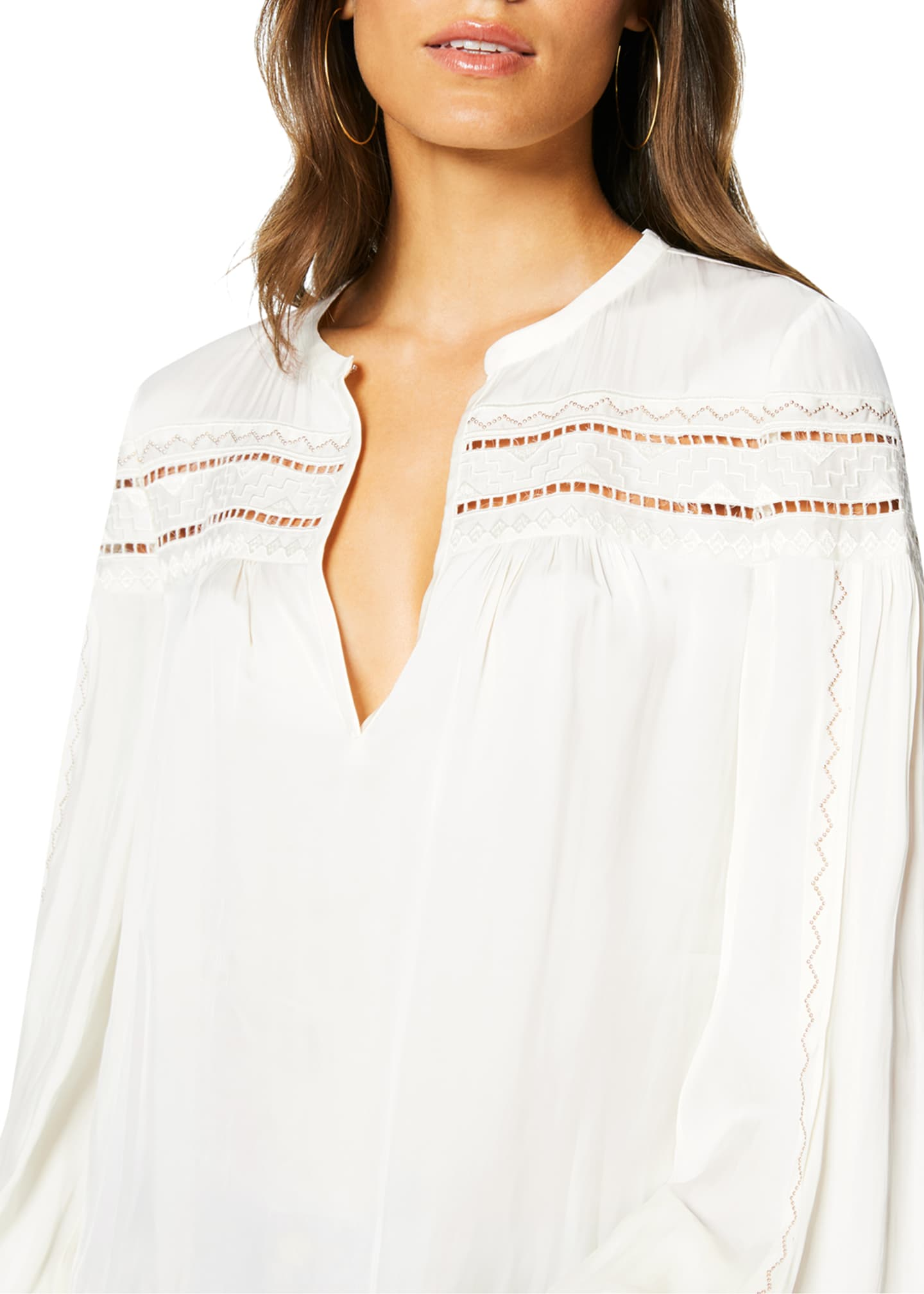 Image 2 of 3: Maisy Ladder-Stitched Peasant Top