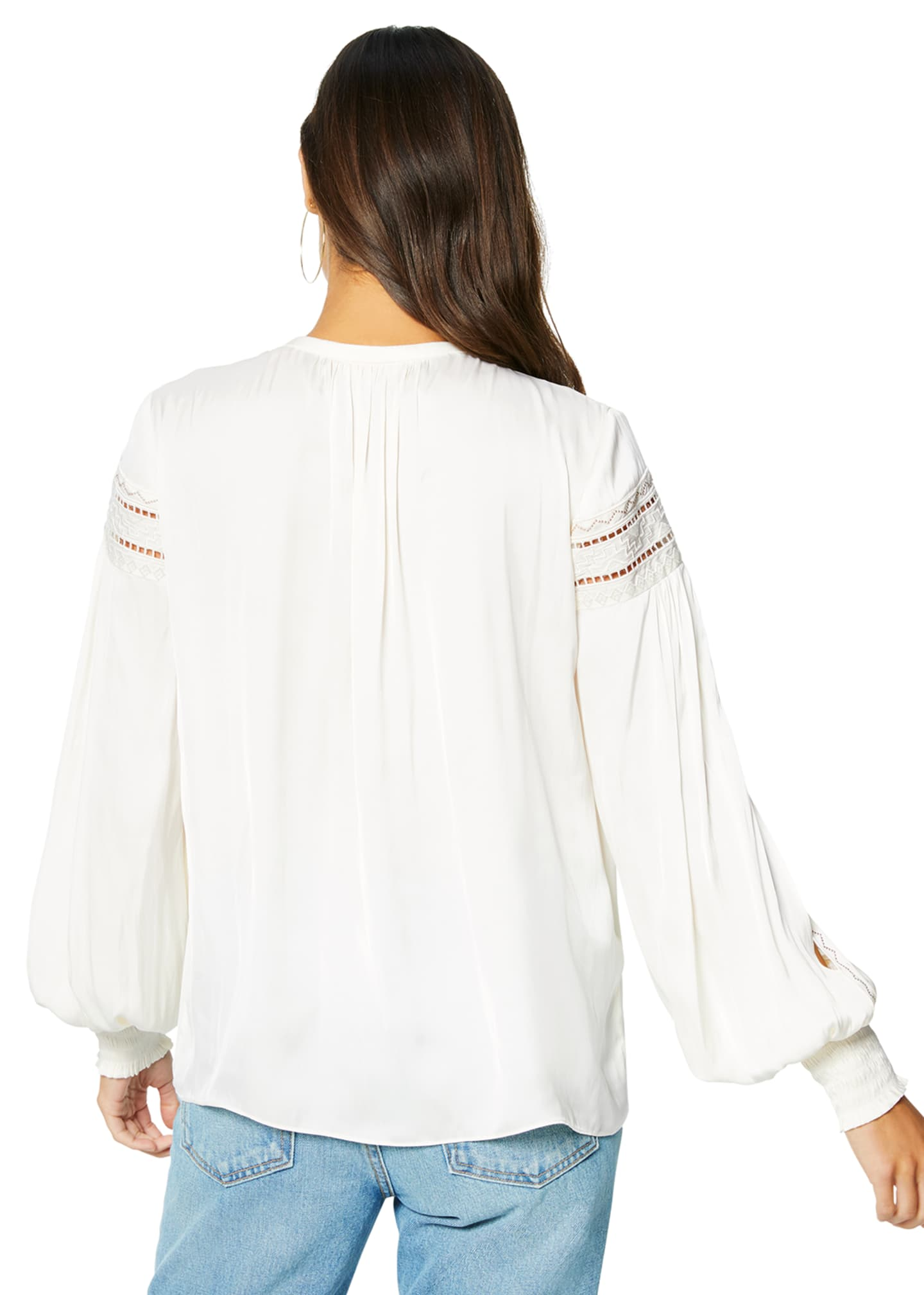 Image 3 of 3: Maisy Ladder-Stitched Peasant Top