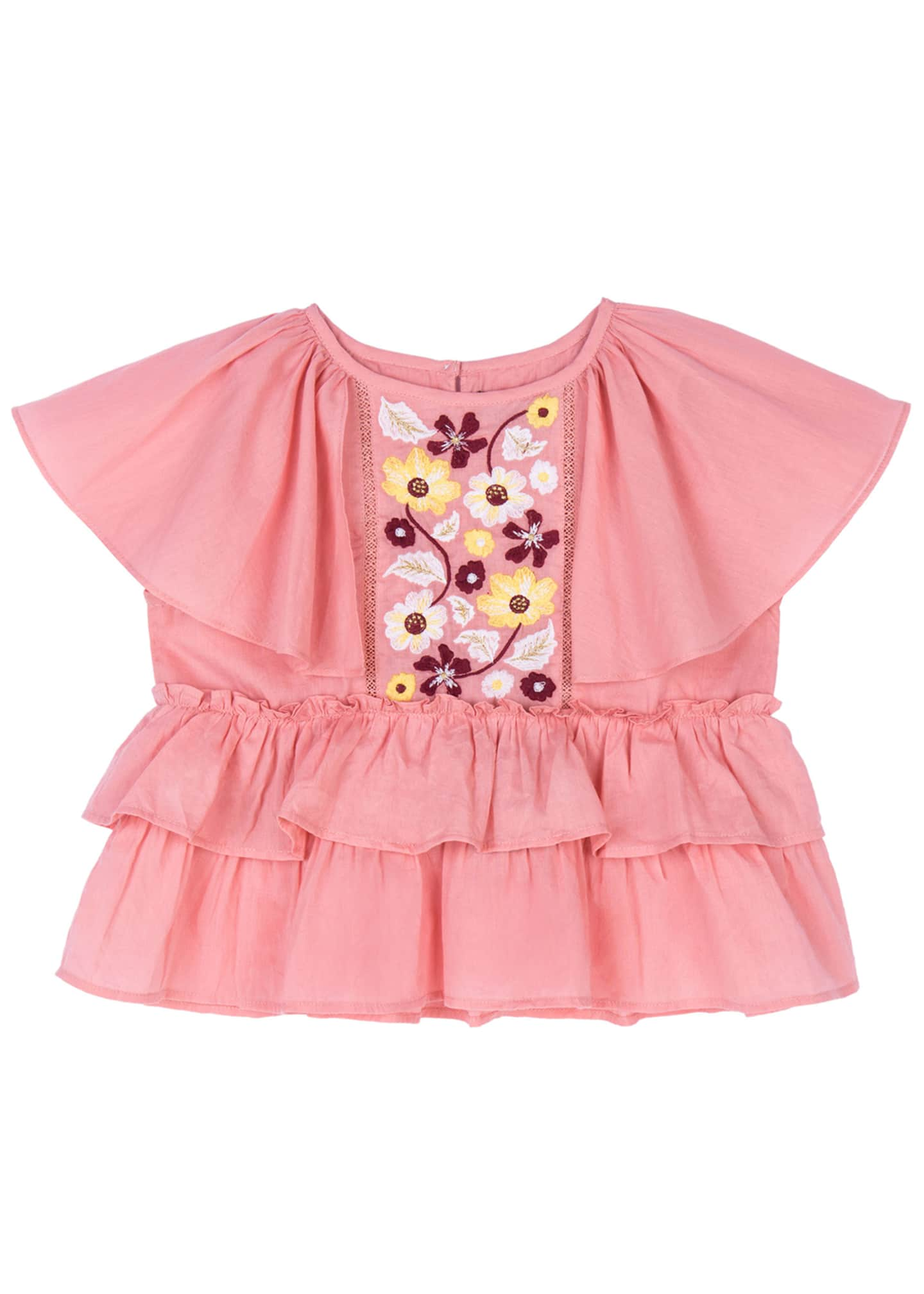 Image 1 of 3: Evie Embroidered Peplum Top, Size 4-6