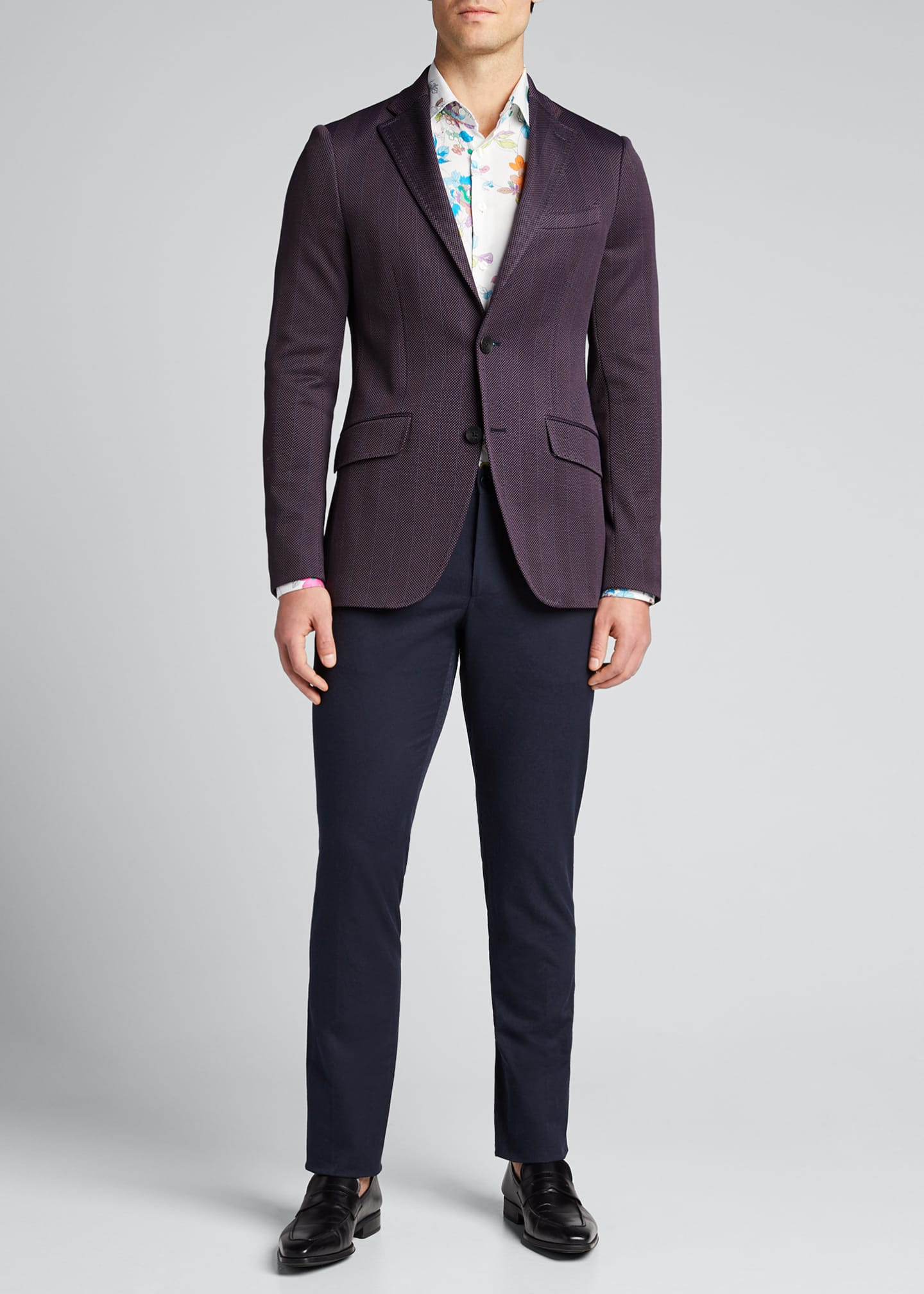 Etro Men's Paisley Solid-Knit Trousers