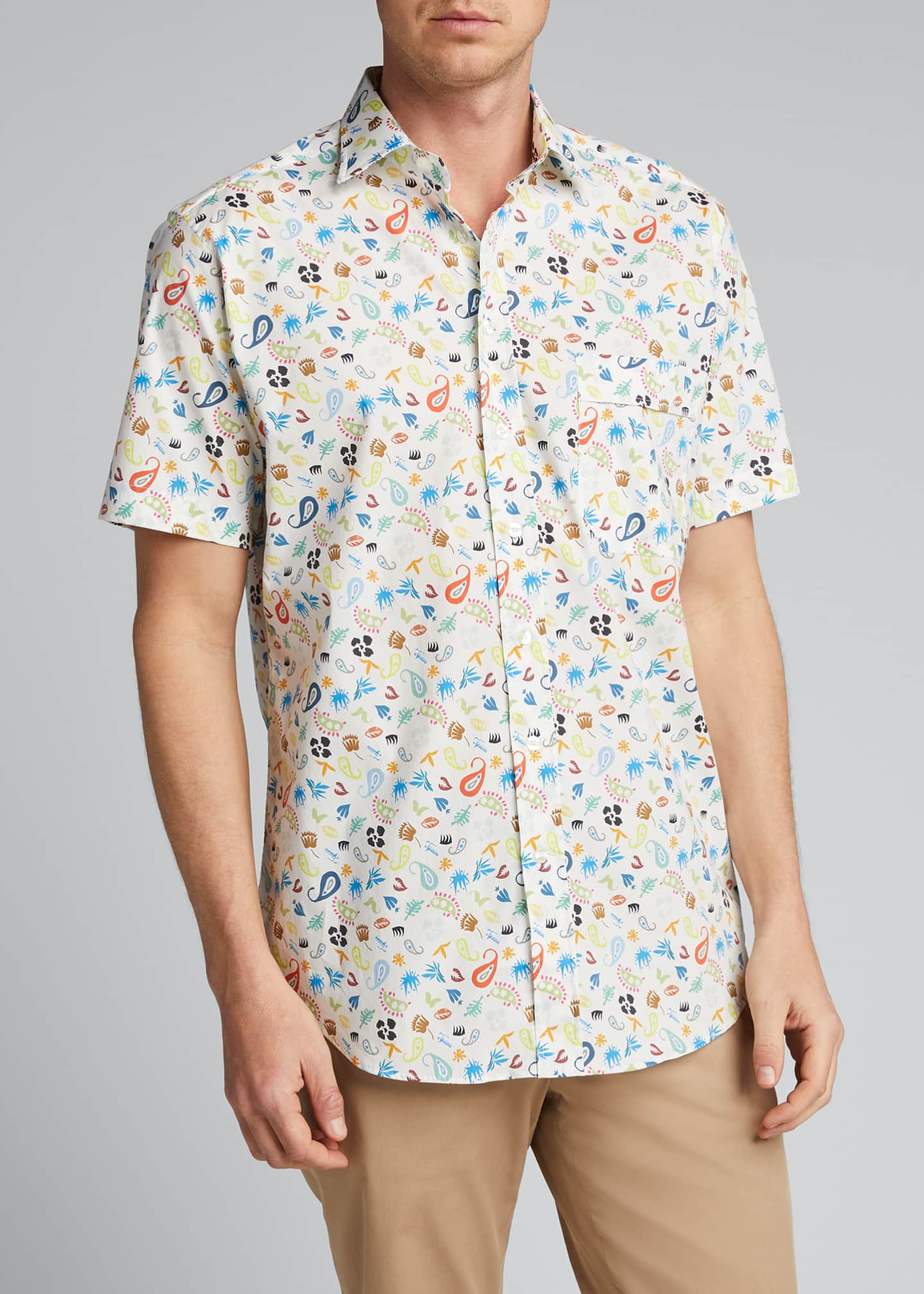 Image 3 of 4: Men's Cartoon Paisley-Print Sport Shirt
