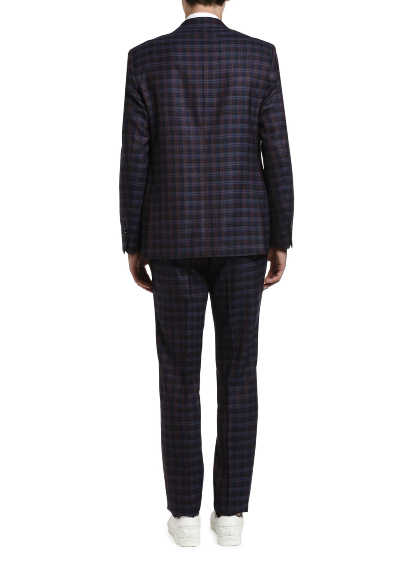Image 2 of 3: Men's Plaid Wool Suit Jacket