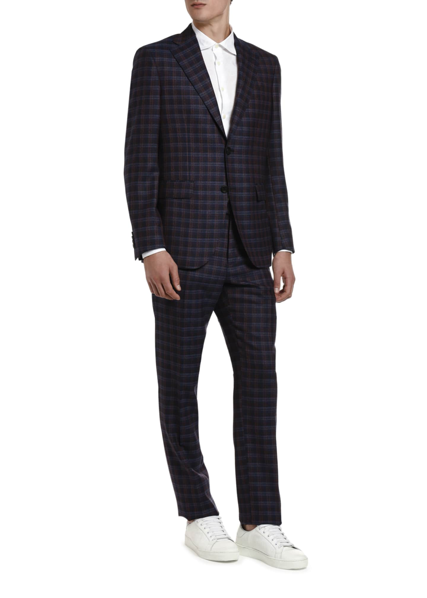 Image 3 of 3: Men's Plaid Wool Suit Jacket