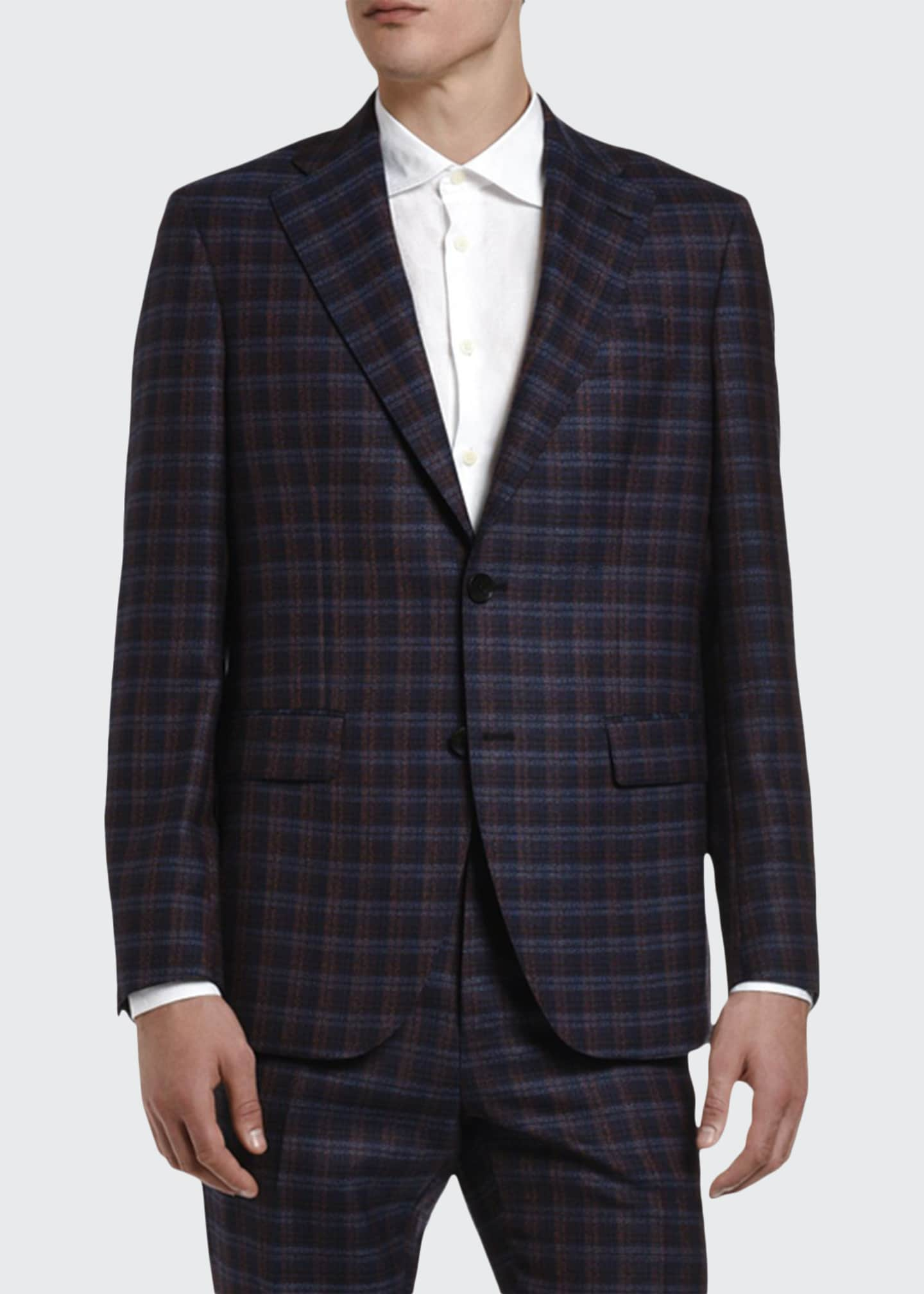 Image 1 of 3: Men's Plaid Wool Suit Jacket