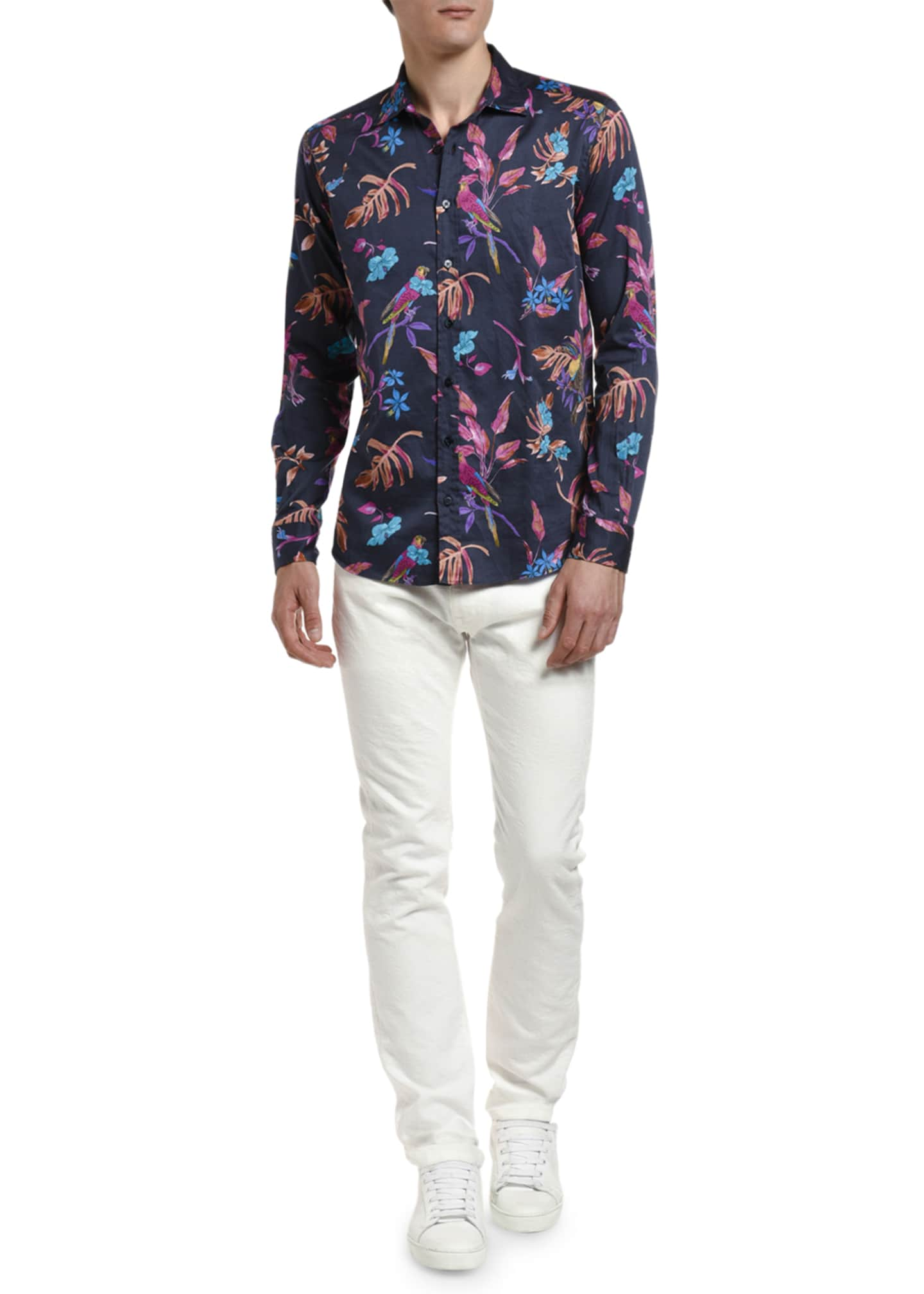 Etro Men's Tropical Hibiscus Sport Shirt