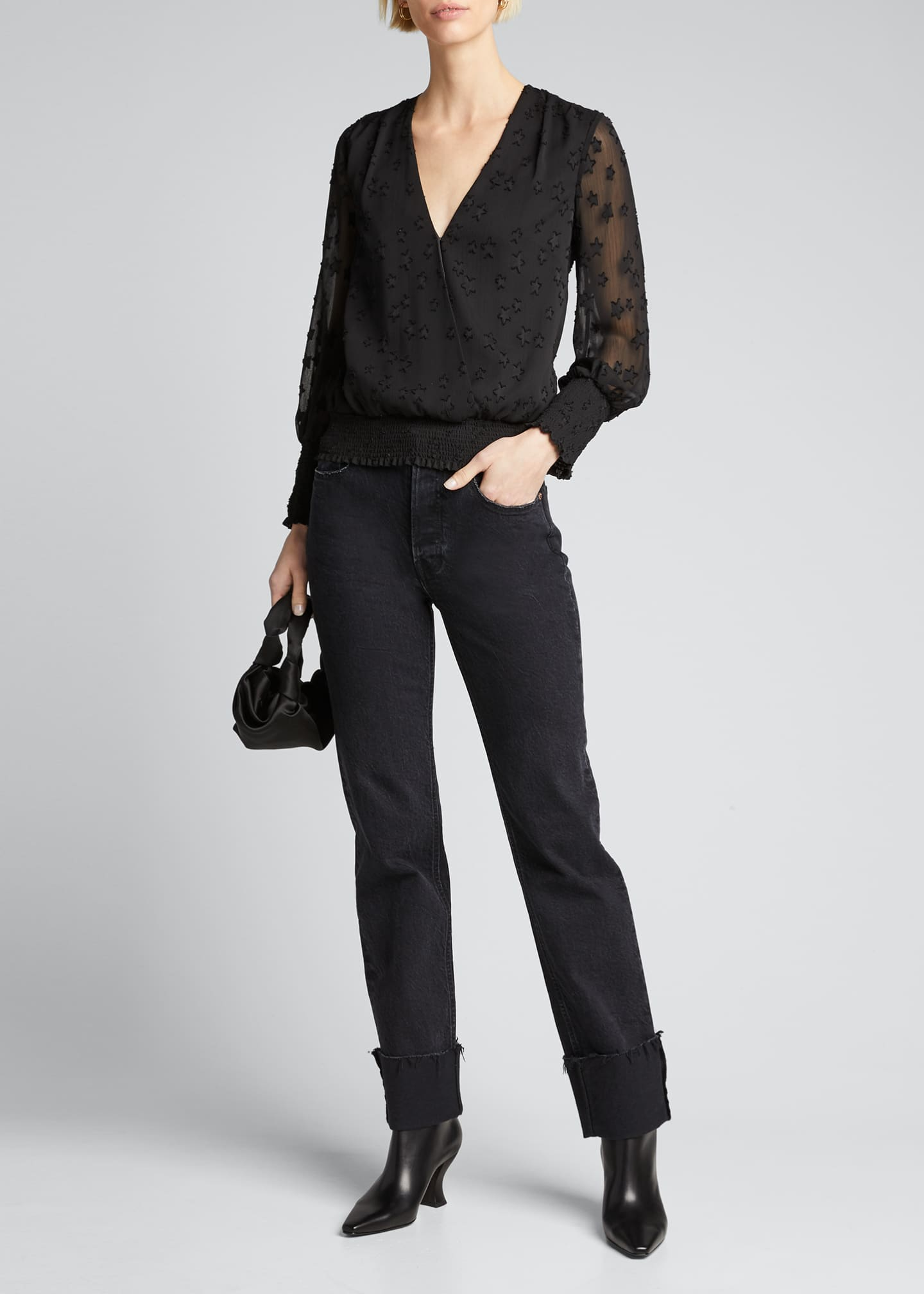 Image 1 of 5: Dulce Cross-Front Blouse w/ Smocked Hem
