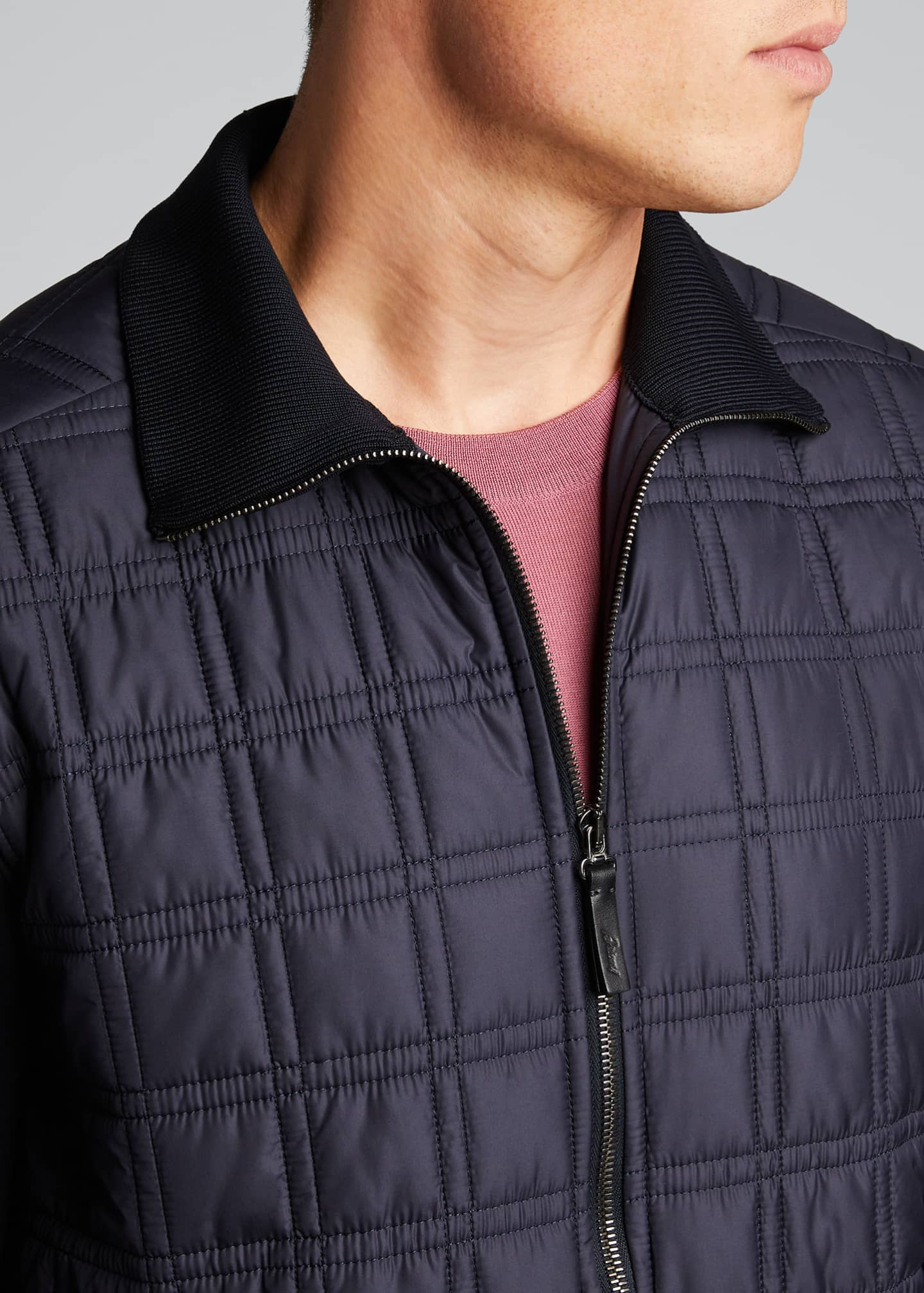 Image 4 of 5: Men's Quilt Knit Blouson Jacket