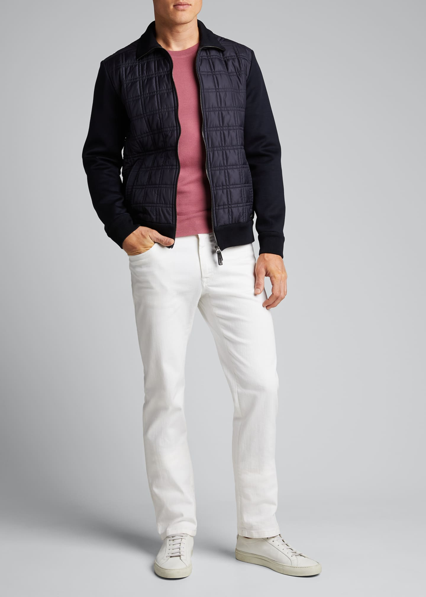 Image 1 of 5: Men's Quilt Knit Blouson Jacket